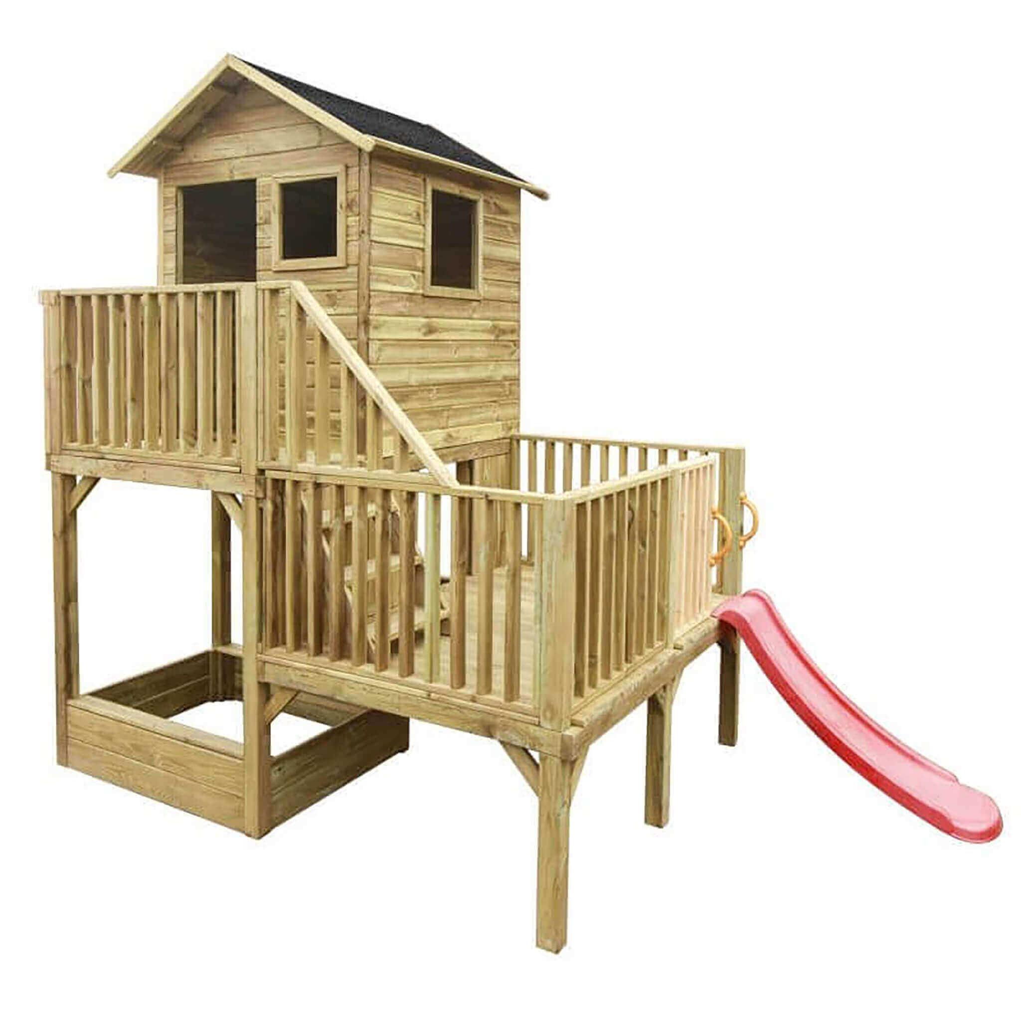 milani home jeje - casetta in legno per bambini con scivolo
