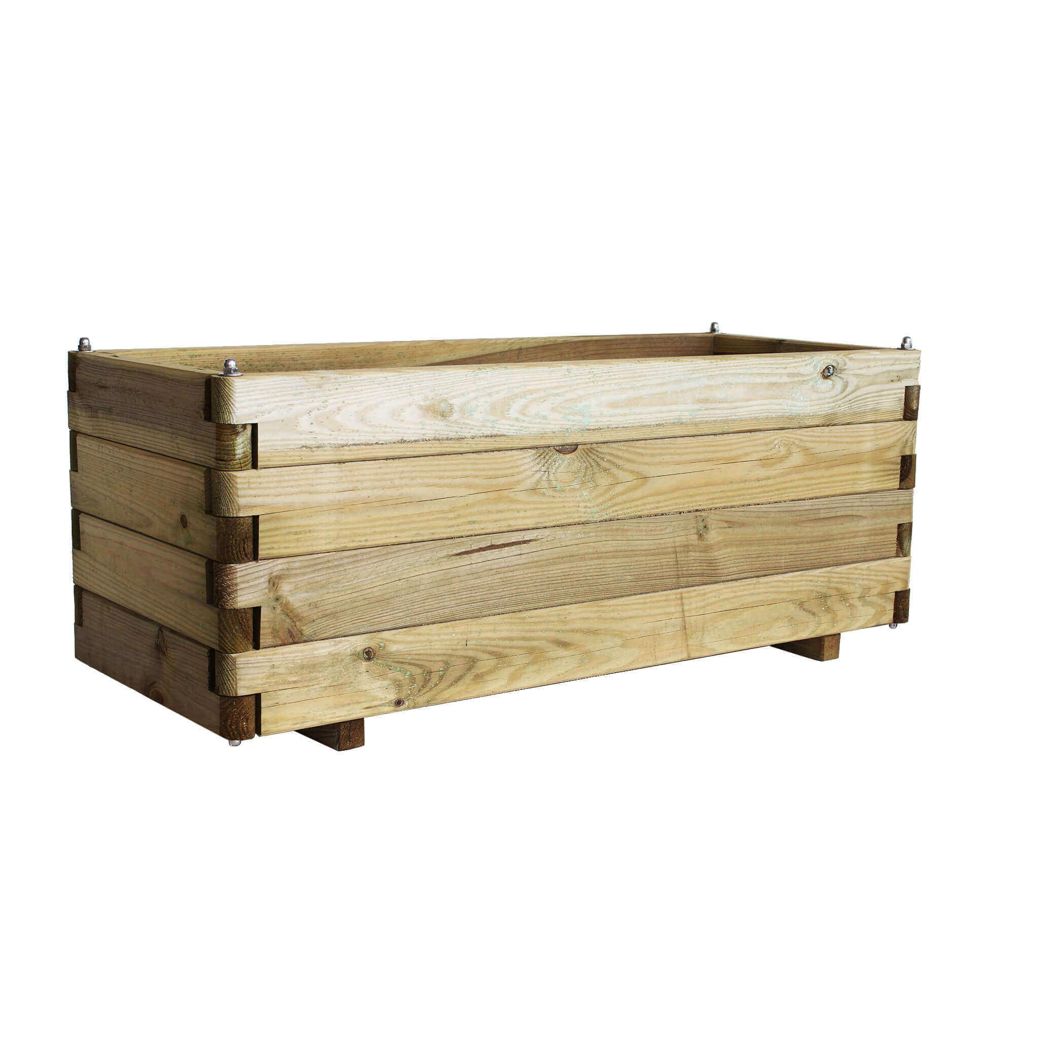 milani home fioriera - in legno da giardino 100x40x40 h