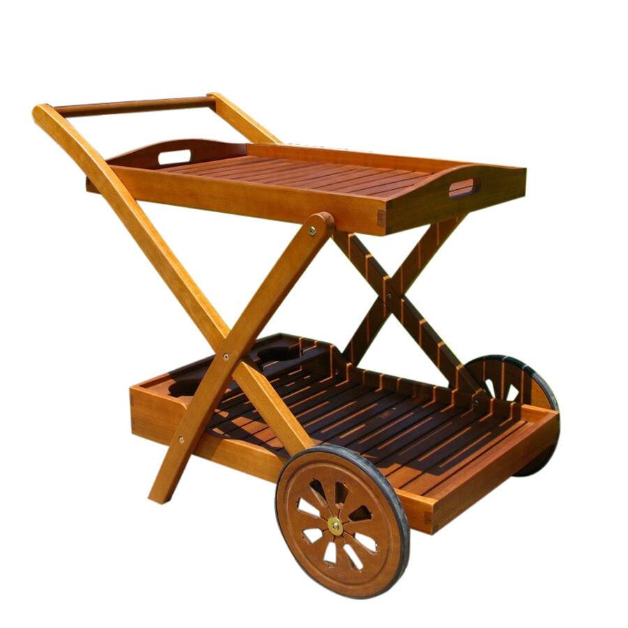 Milani Home PODIUM - carrello da giardino portavivande in legno massiccio di acacia