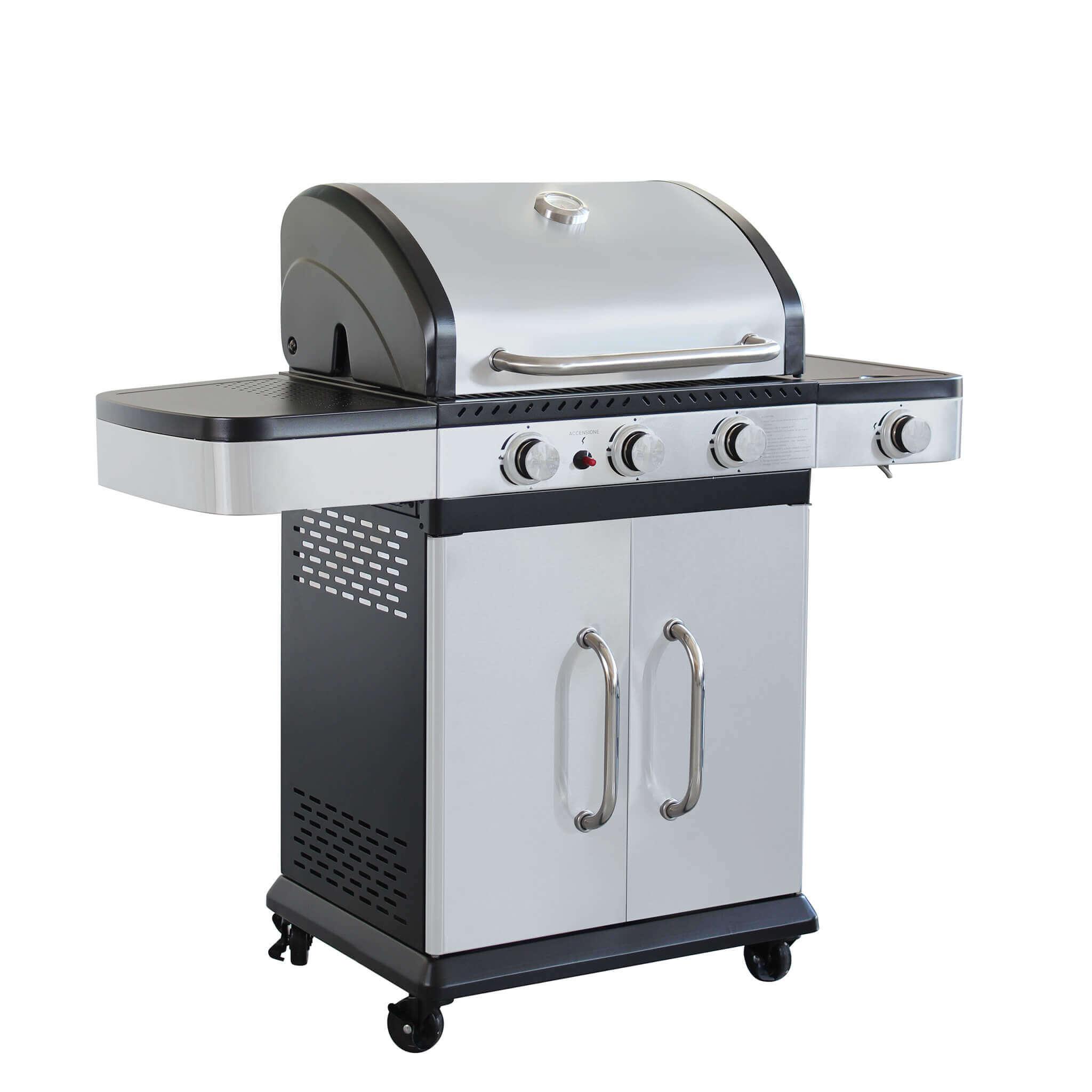 Milani Home PIROS - barbecue a gas in acciaio inox 3 fuochi + 1 fuoco laterale