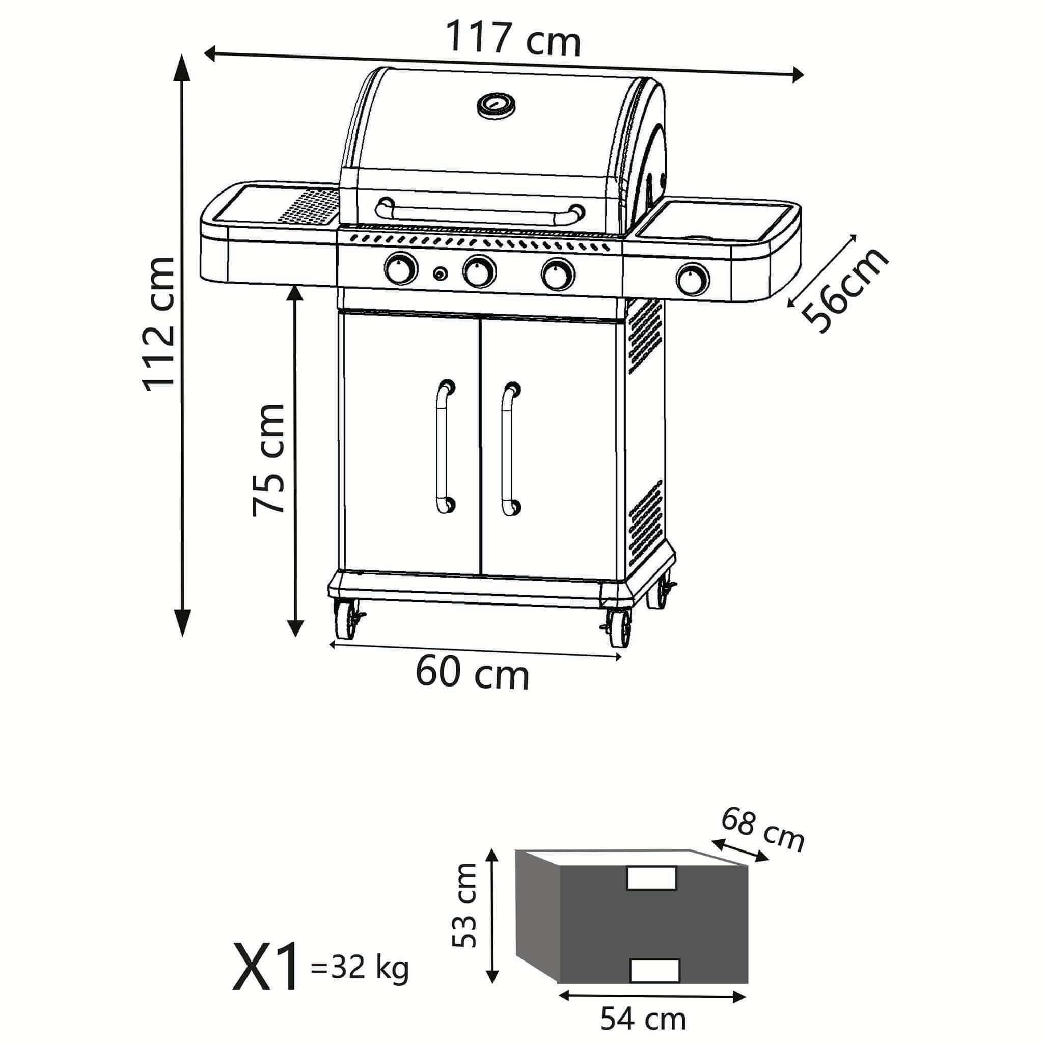 milani home keyron - barbecue a gas in acciaio inox 3 fuochi + 1 fuoco laterale