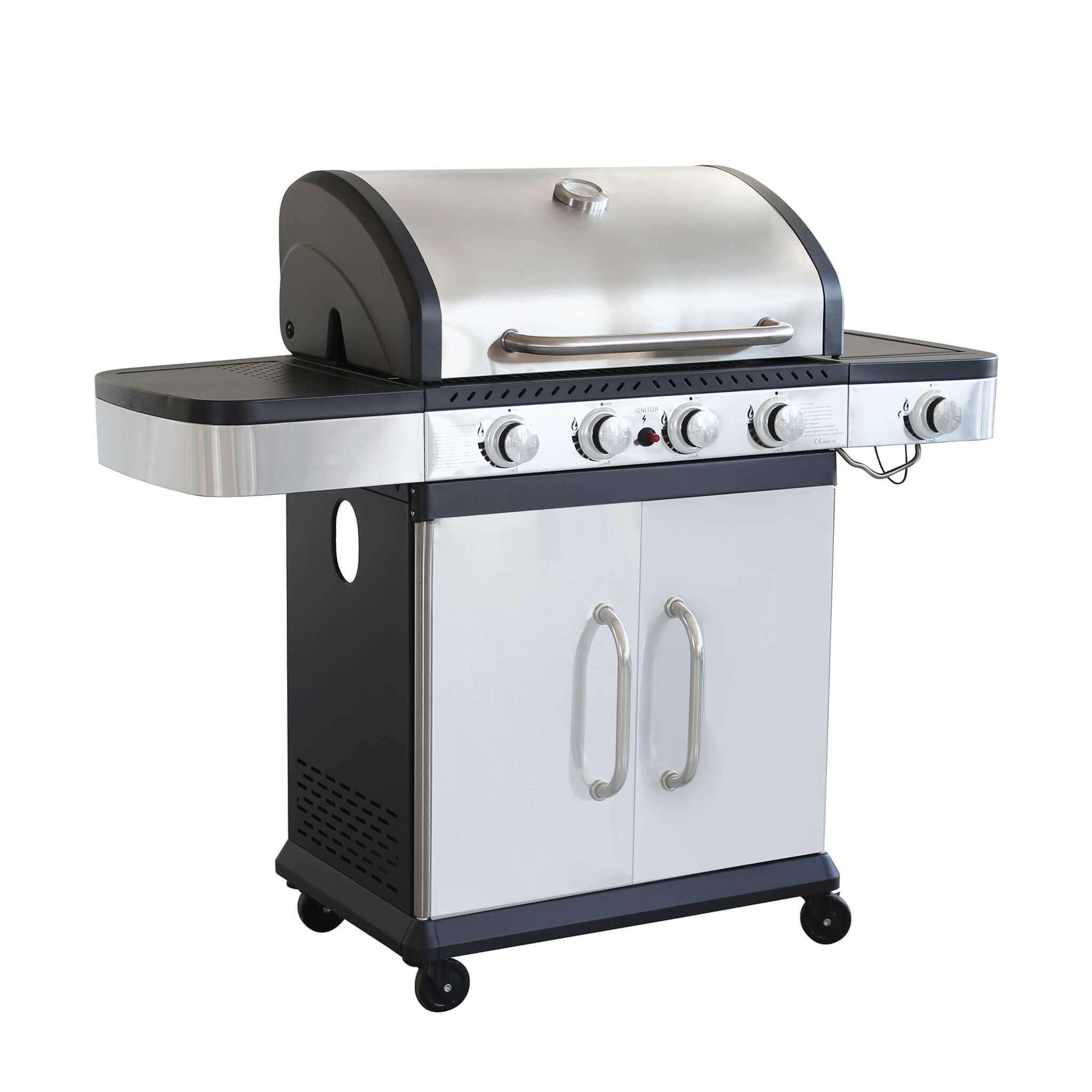Milani Home PIROS - Barbecue a gas in acciaio inox 4 fuochi + 1 fuoco laterale