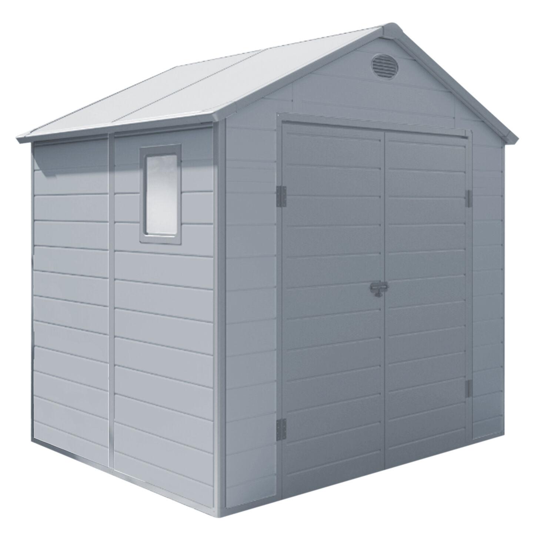 milani home utility - casetta in resina da giardino porta attrezzi cm 190 x 192 x 226 h