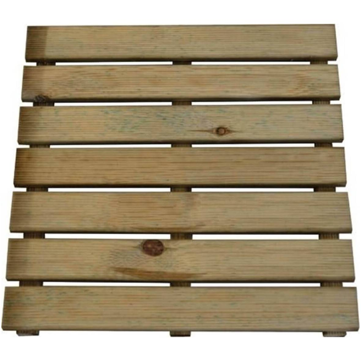 Milani Home pedana zigrinata da giardino in legno di pino verniciato in autoclave 50x50