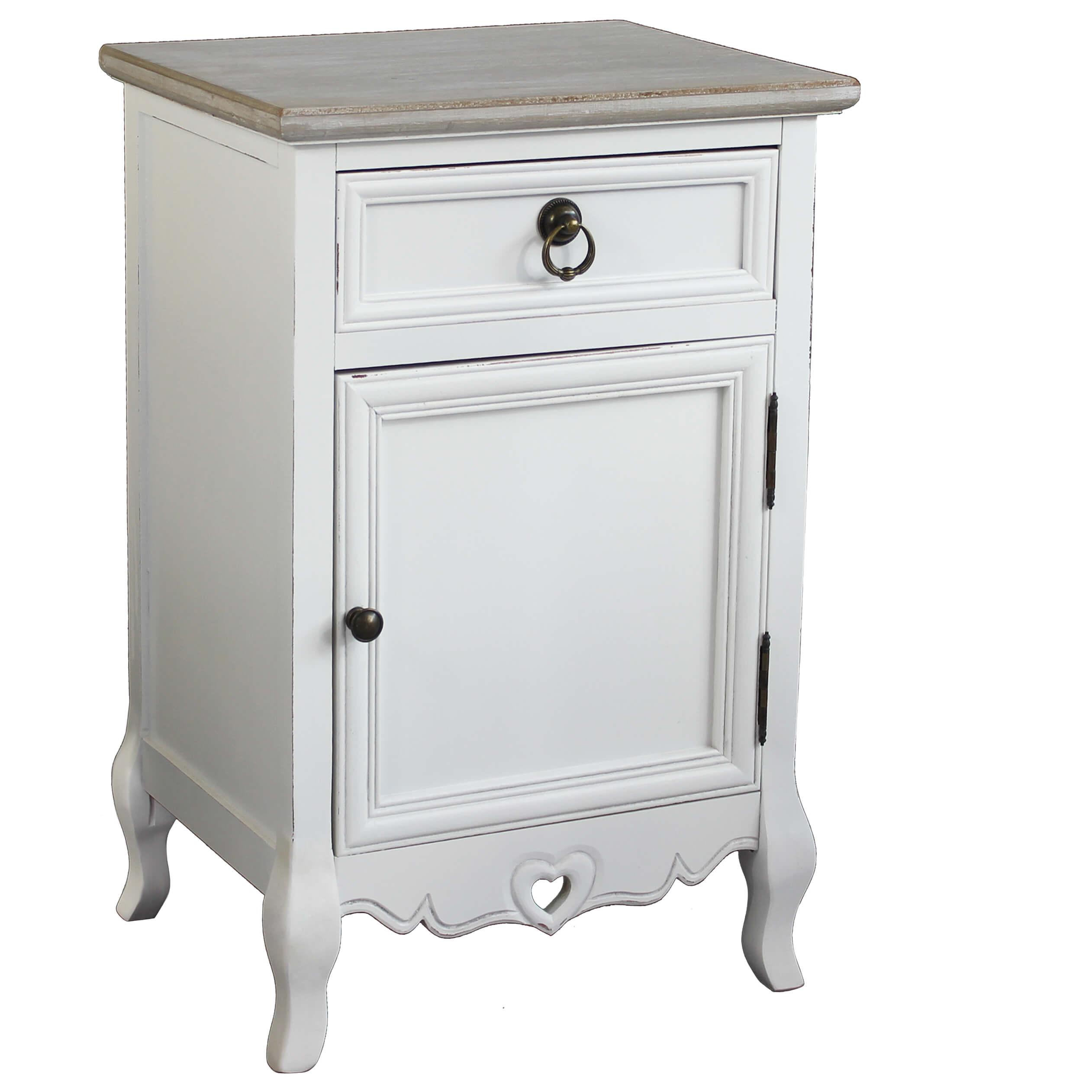 Milani Home BERNADETTE - mobiletto 1 cassetto 1 anta in legno di paulownia shabby chic 44 x 34 x 68