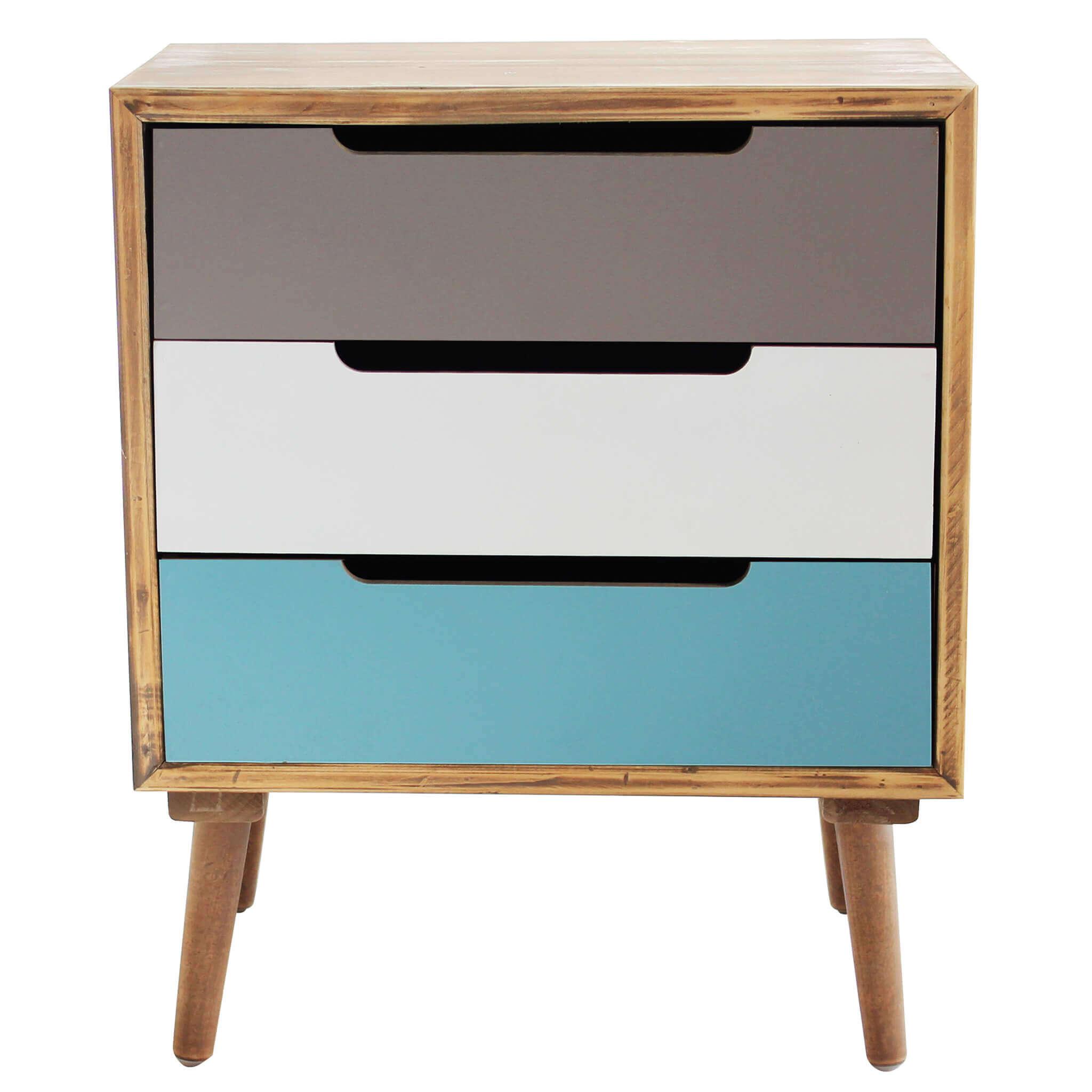 Milani Home ADELINE - mobiletto 3 cassetti in mdf multicolor 45,5 x 35,5 x 57,5