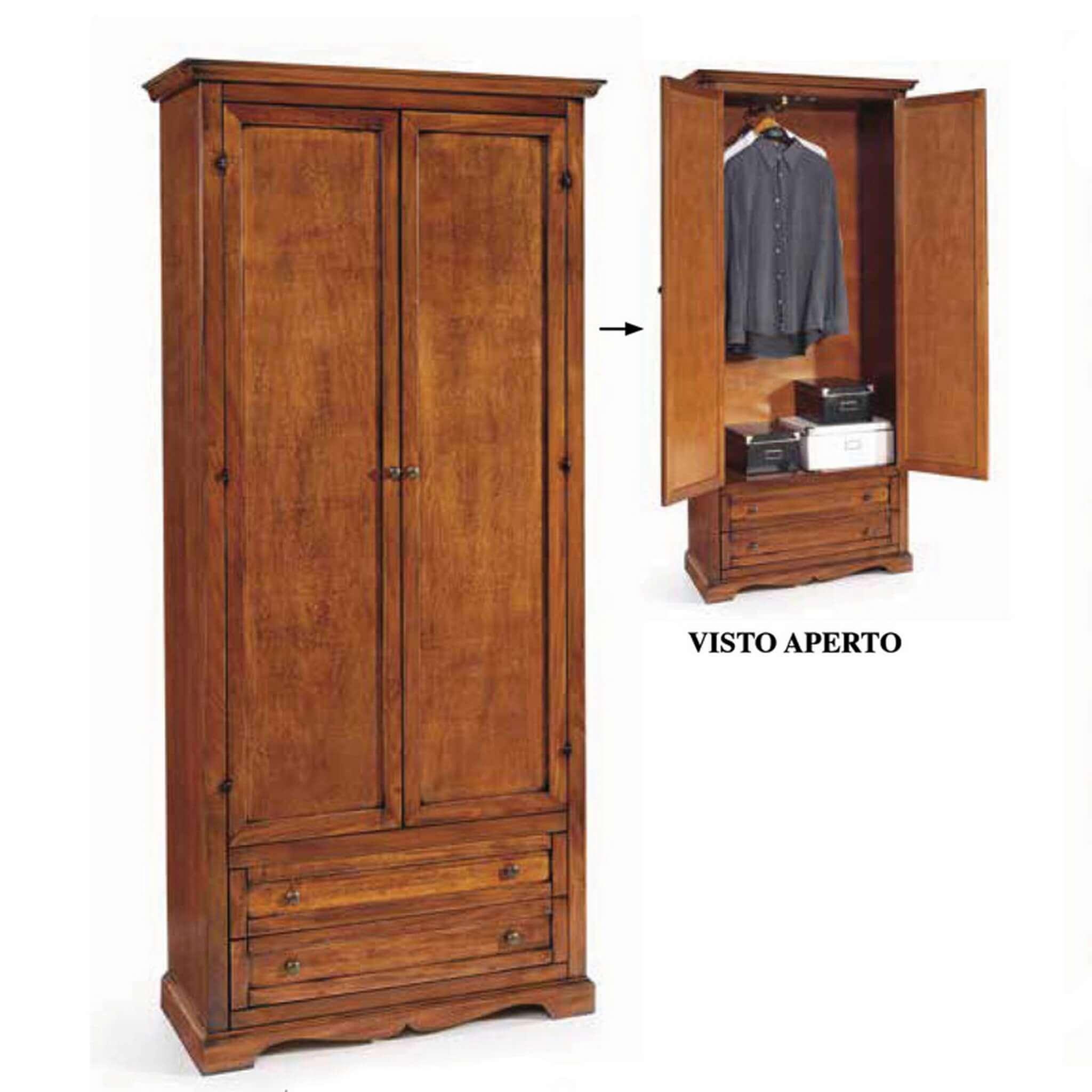 Milani Home CHARLTON - armadio 2 ante in legno massello 87 x 40 x 192