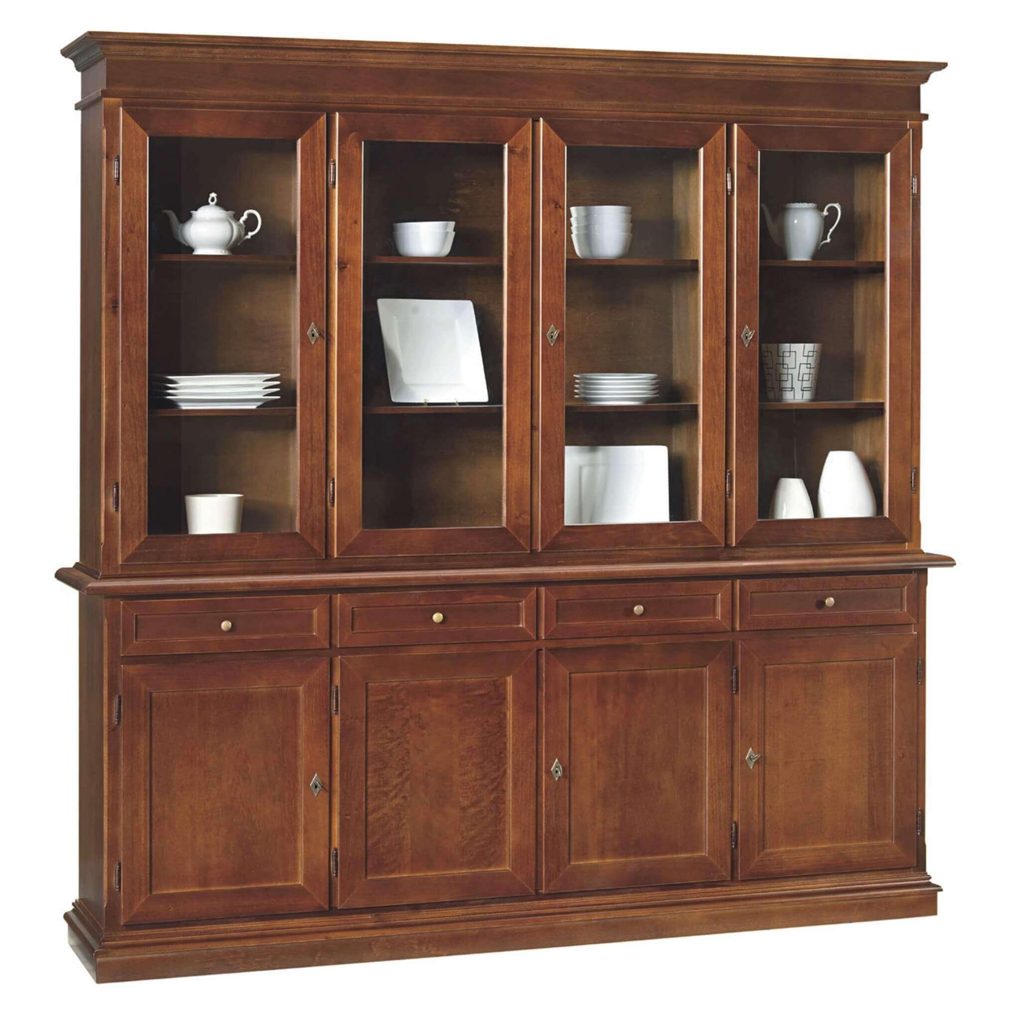 milani home jaqueline - credenza con vetrina in legno massello 205 x 42 x 205