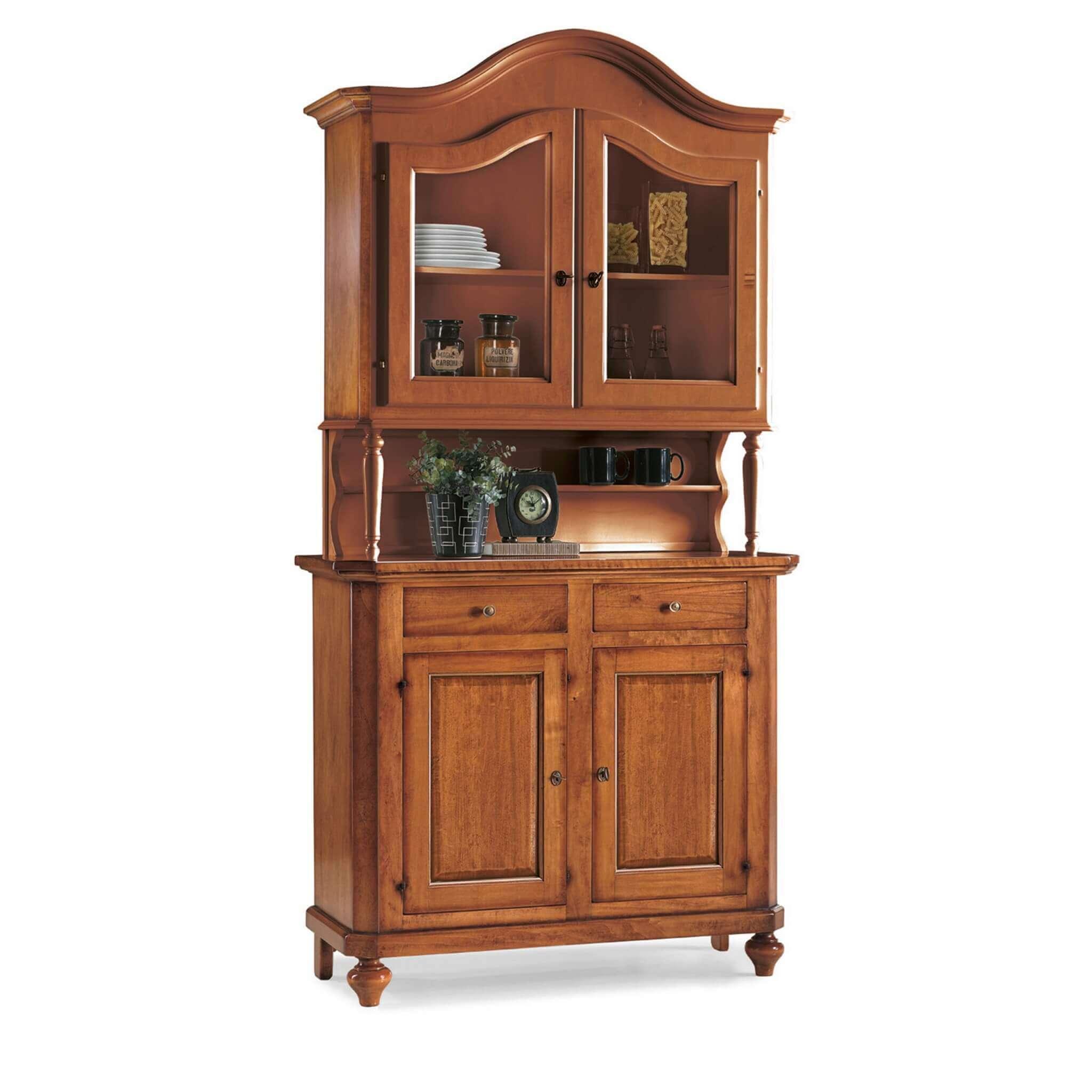 milani home kylie - credenza con vetrina in legno massello 104 x 43 x 219