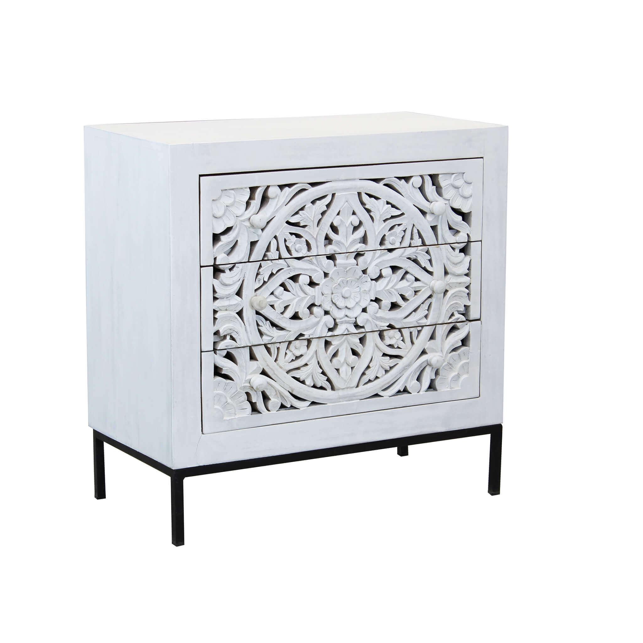 Milani Home OHM - comò cassettiera con decoro 3 cassetti legno e ferro