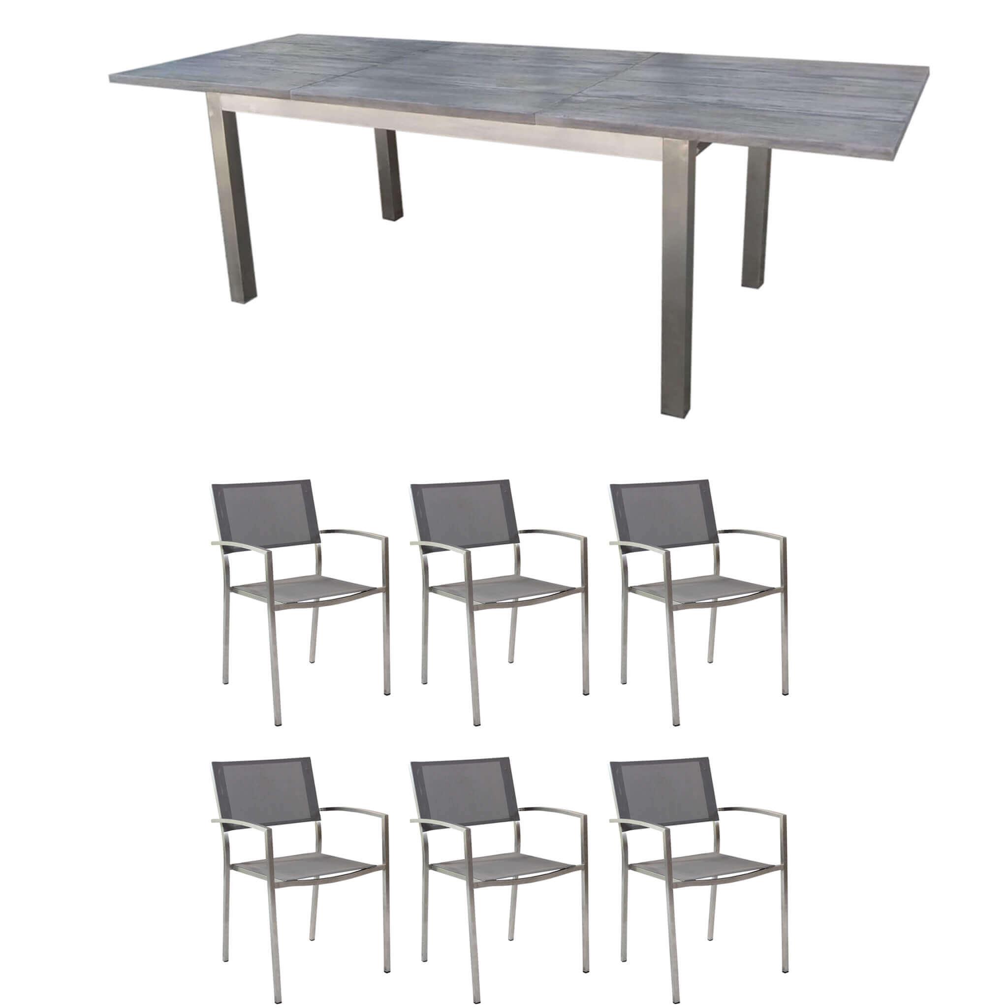 milani home jupiter - set tavolo in teak e acciaio cm 200/300 x 95 x 75 h con 6 sedute