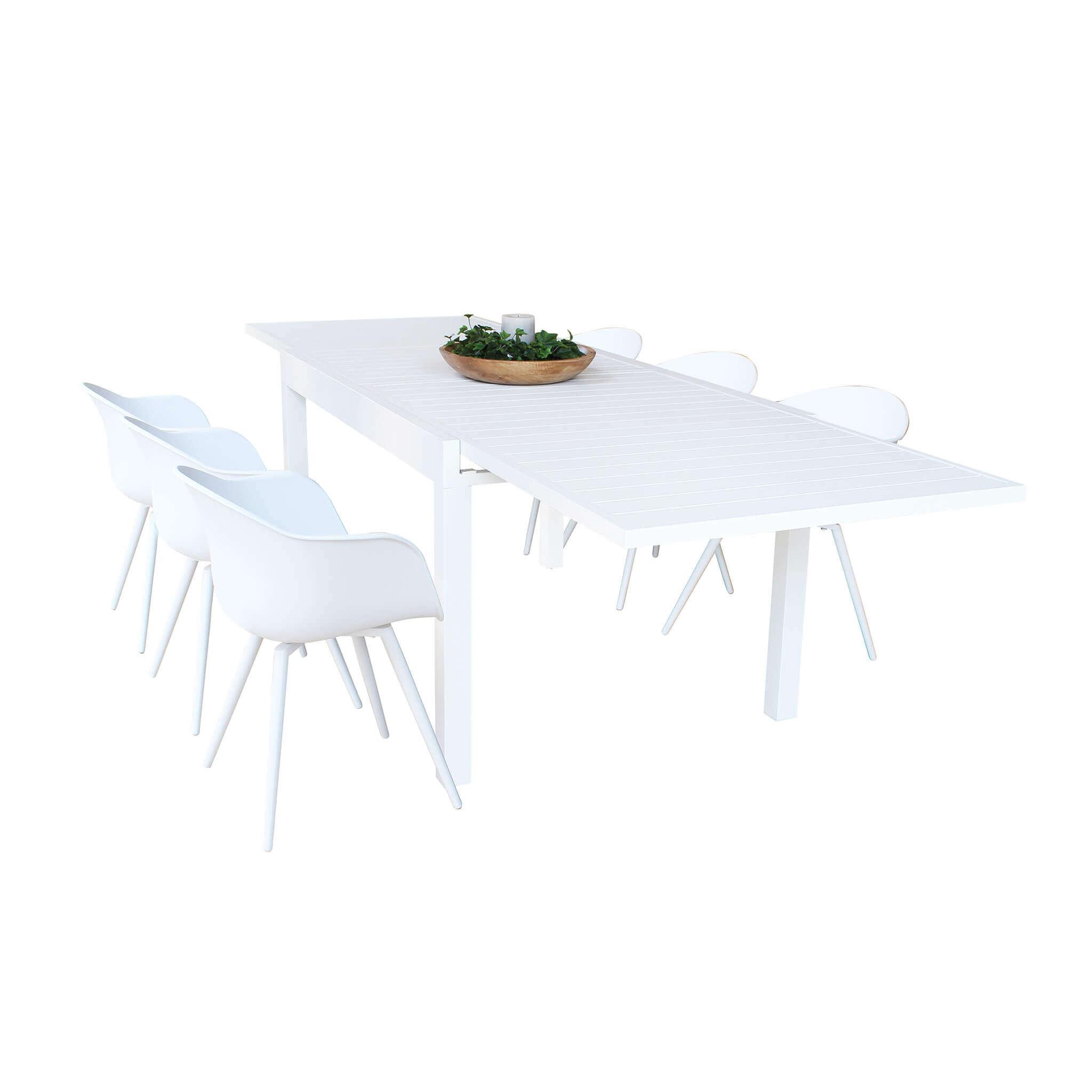 milani home jerri - tavolo da giardino in alluminio 135/270 x 90
