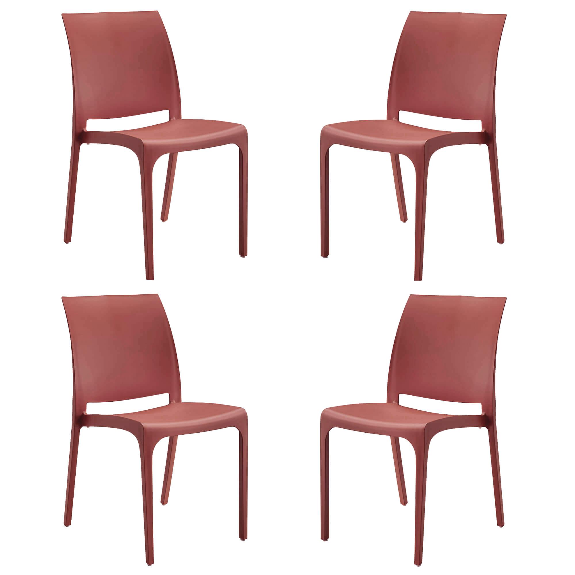milani home volga - set di 4 sedie da giardino in plastica