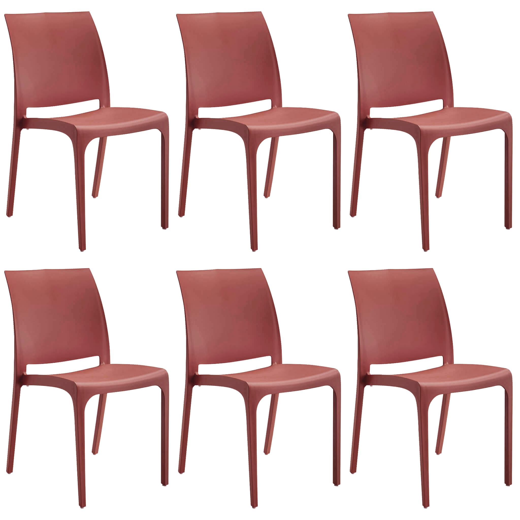 milani home volga - set di 6 sedie da giardino in plastica