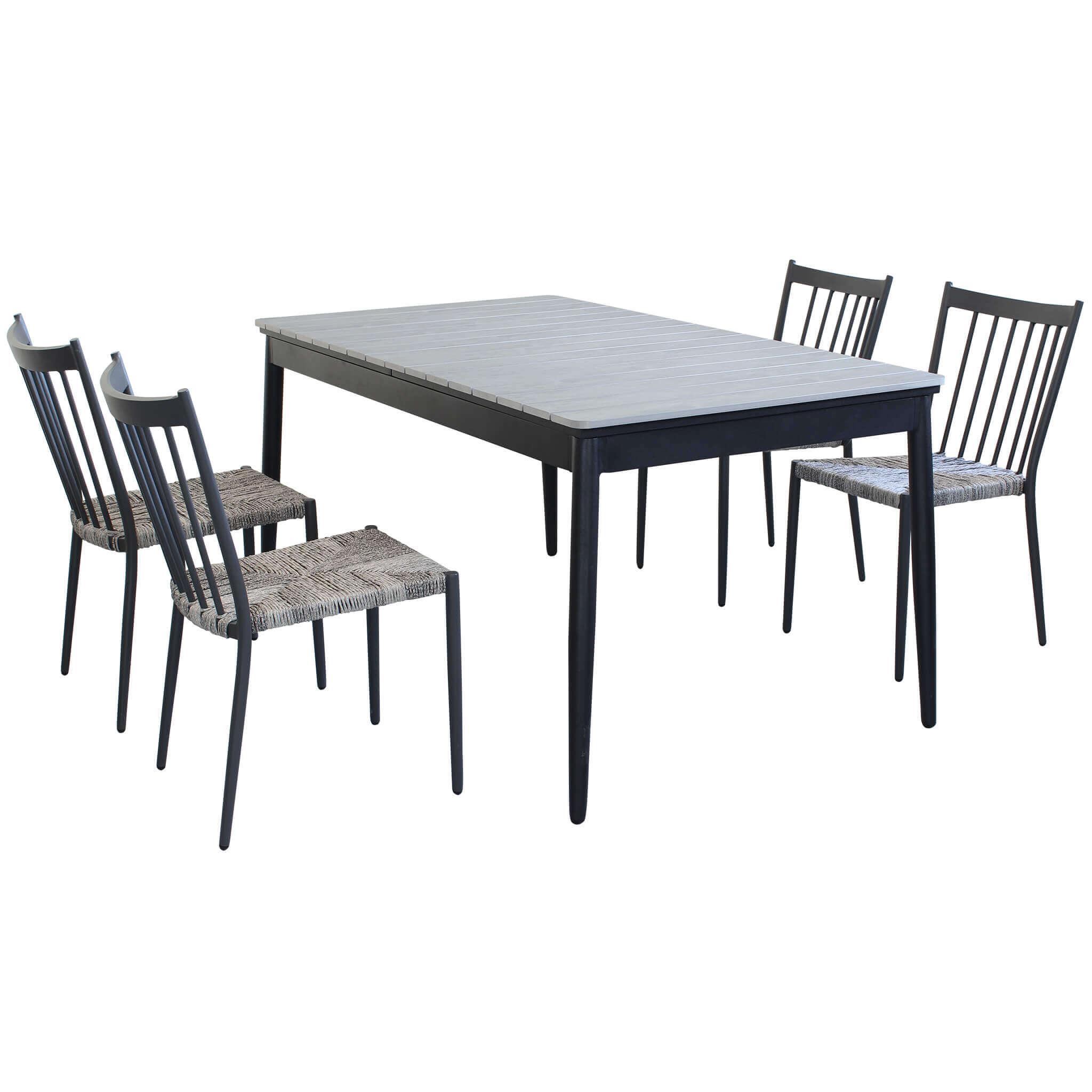 milani home donato - set tavolo da giardino allungabile in alluminio e polywood 160/240 x 90 compreso di 4 sedie in alluminio e polyrattan