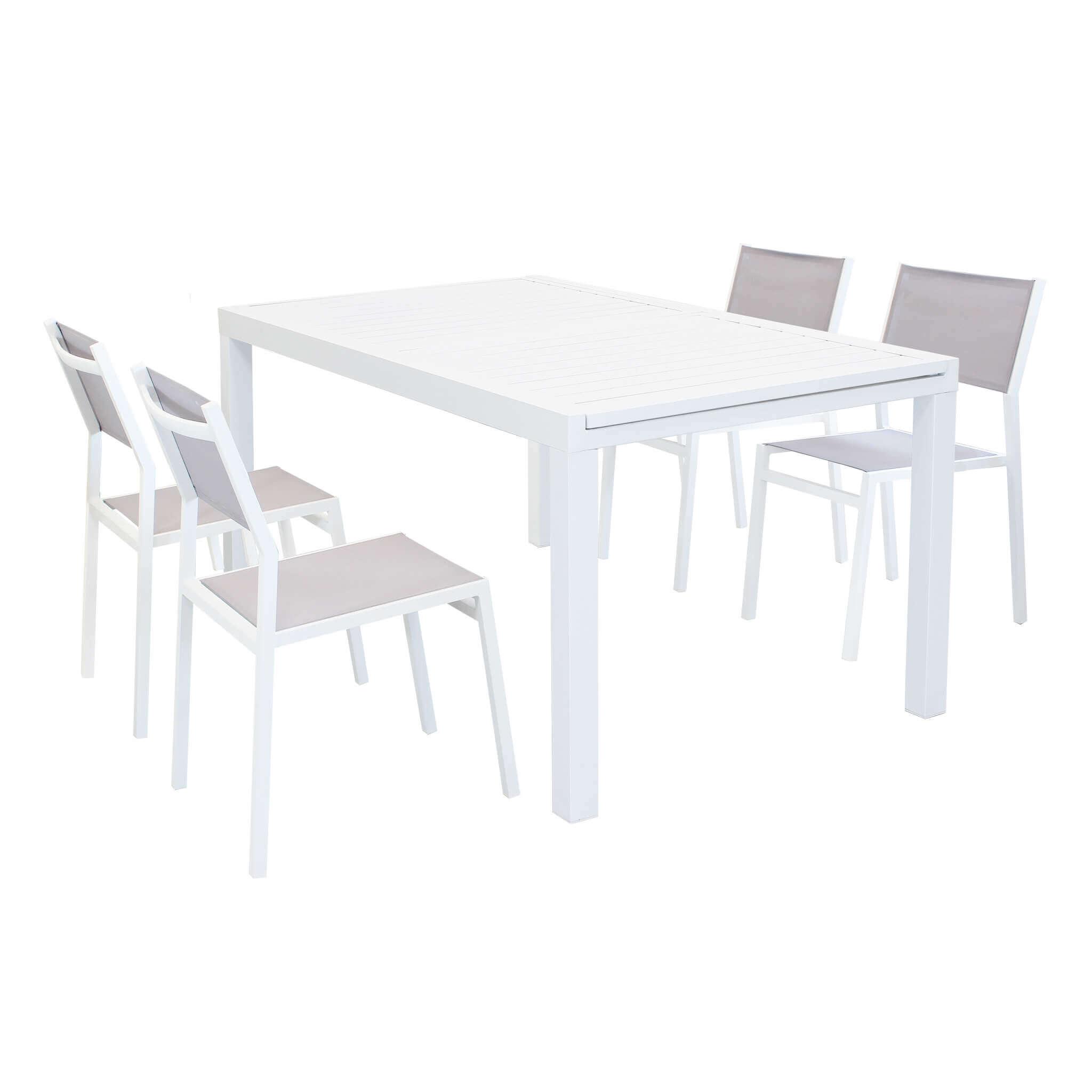 milani home dexter - set tavolo giardino rettangolare allungabile 160/240 x 90 con 4 sedie in alluminio bianco e textilene da esterno