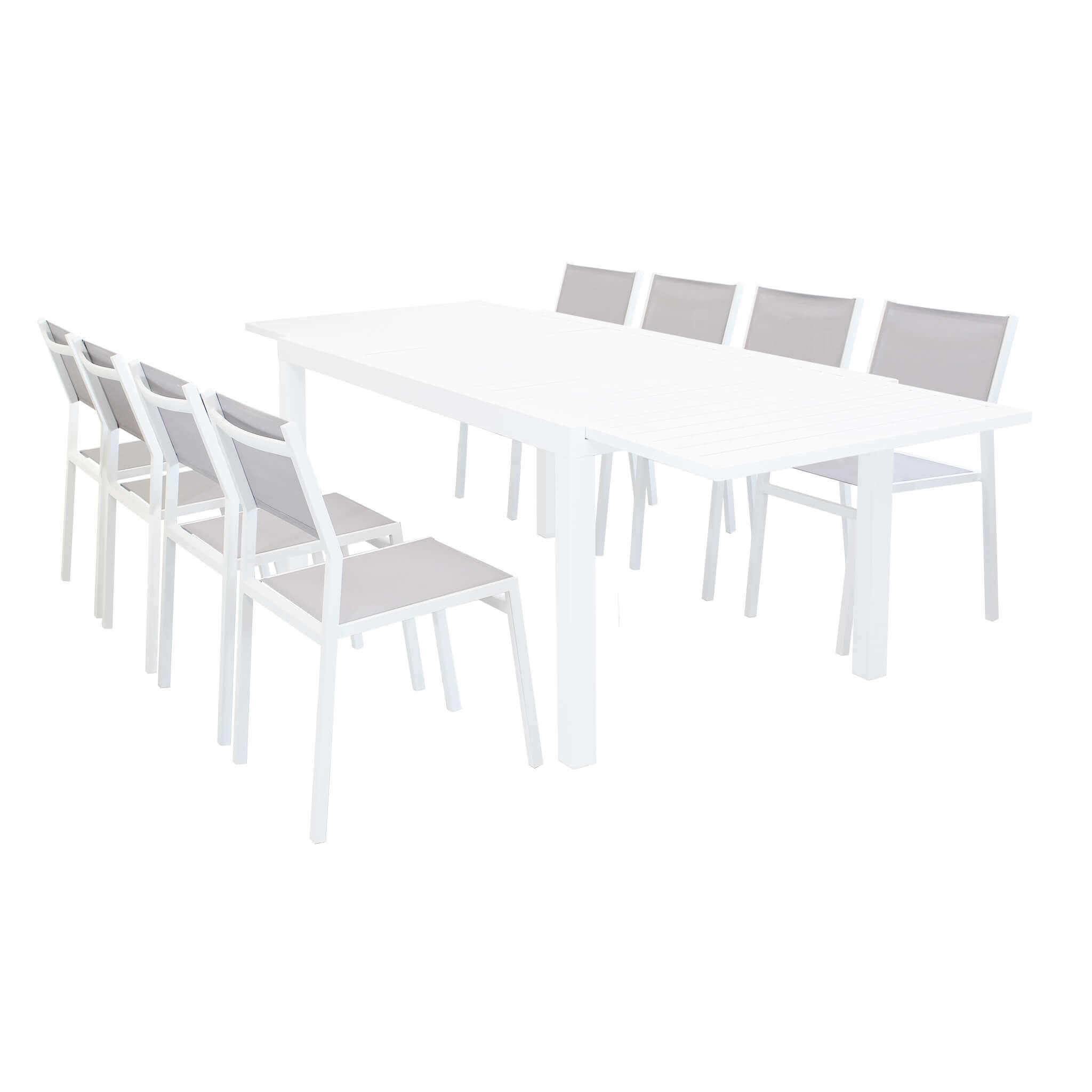 milani home dexter - set tavolo giardino rettangolare allungabile 160/240x90 con 8 sedie in alluminio bianco e textilene da esterno