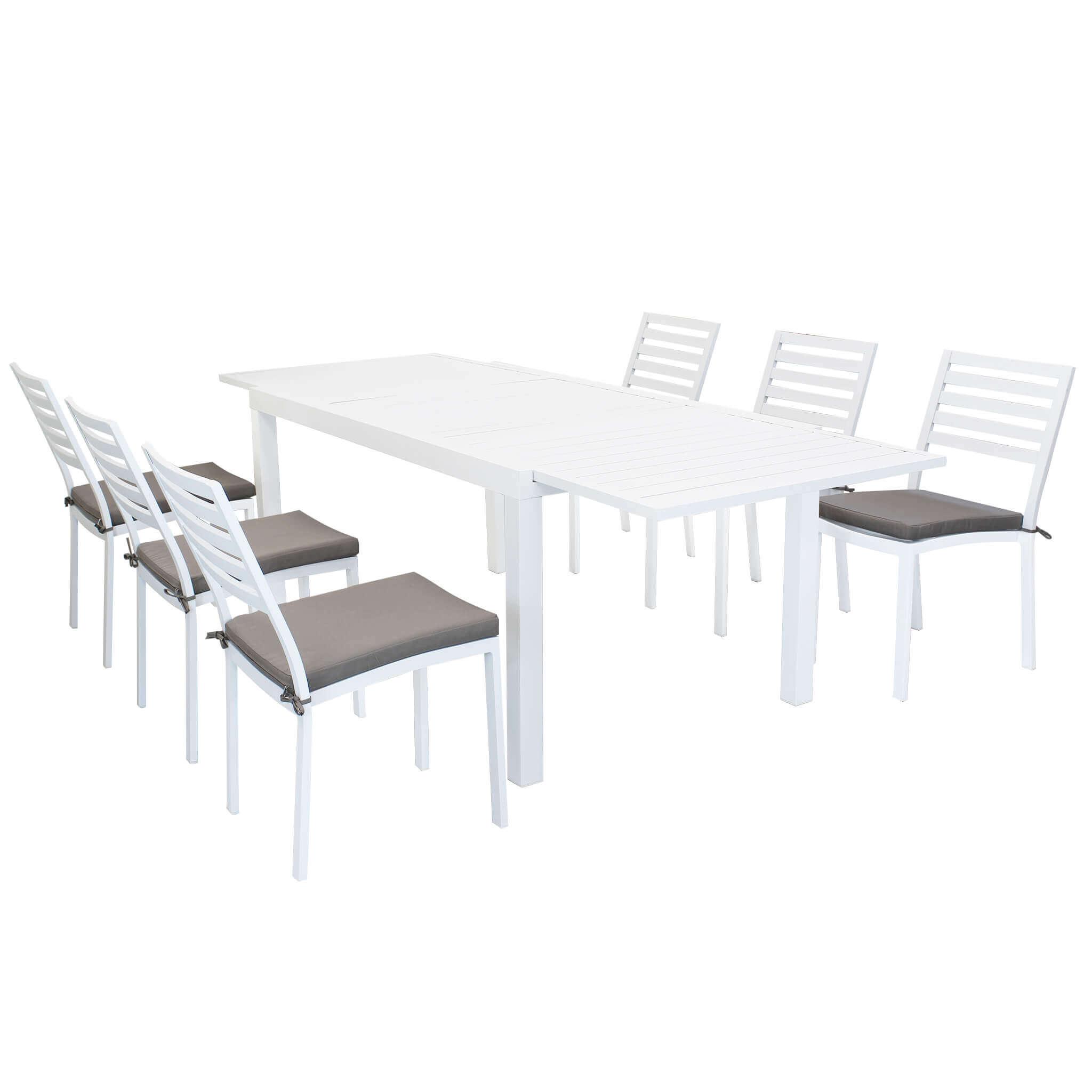 milani home dexter - set tavolo da giardino allungabile 160/240 x 90 compreso di 6 sedie in alluminio