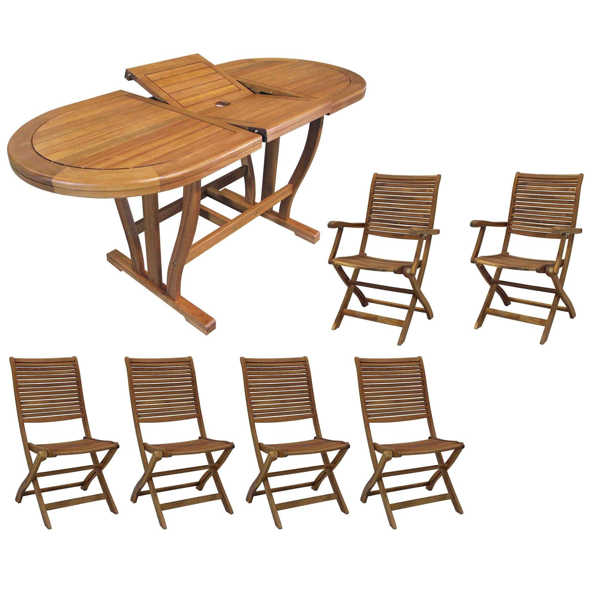 milani home turris - set tavolo da giardino allungabile 120/160x70 compreso di 4 sedie e 2 poltrone in legno massiccio di acacia