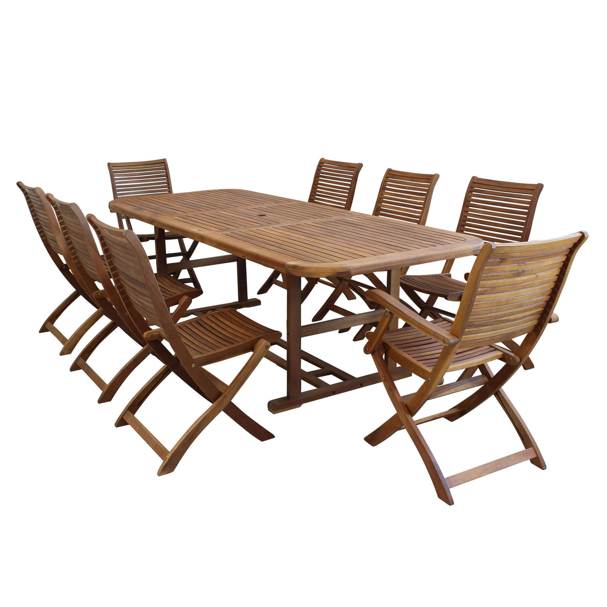 milani home turris - set tavolo da giardino allungabile 180/240x100 compreso di 6 sedie e 2 poltrone in legno massiccio di acacia