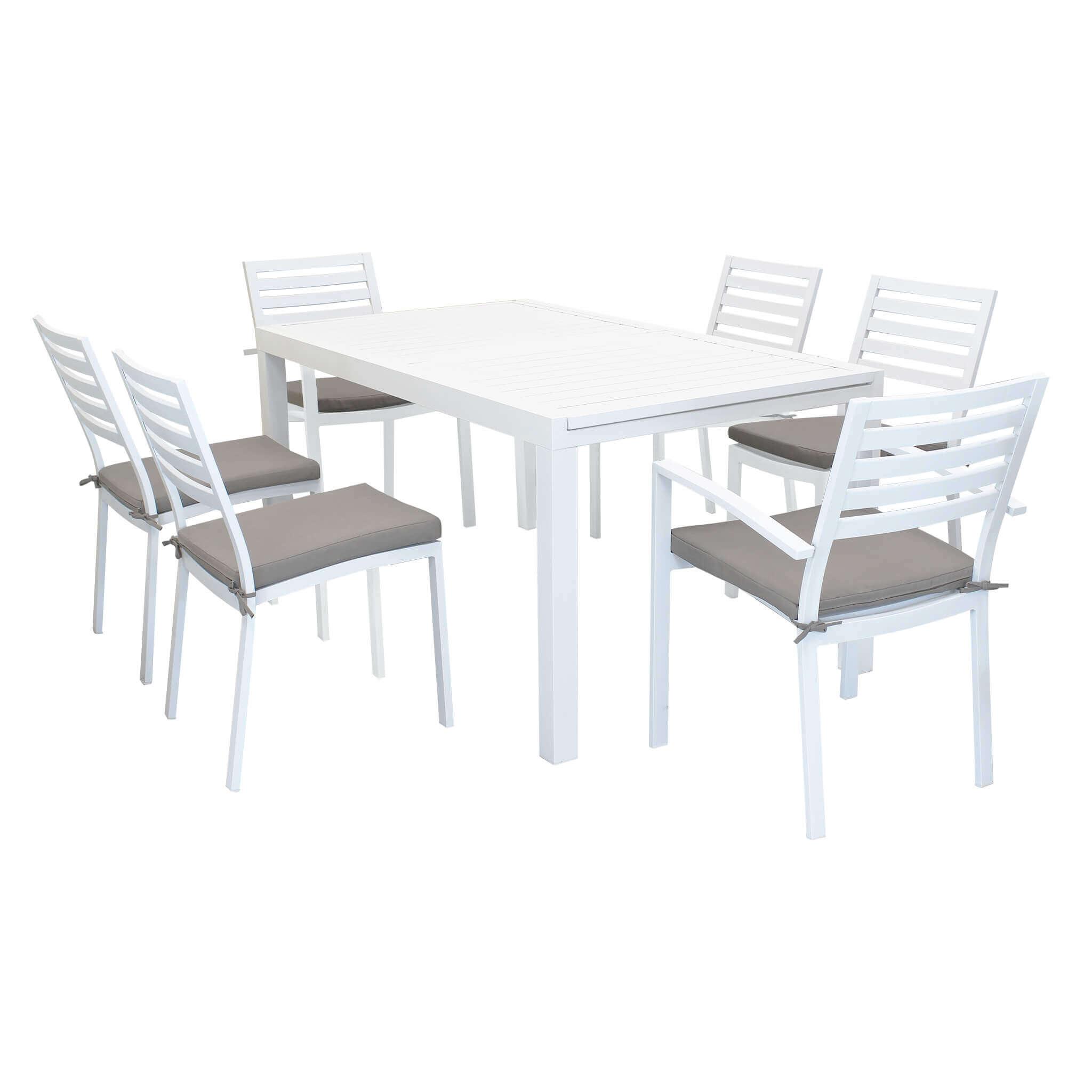 milani home dexter - set tavolo da giardino allungabile 160/240 x 90 compreso di 4 sedie e 2 poltrone in alluminio