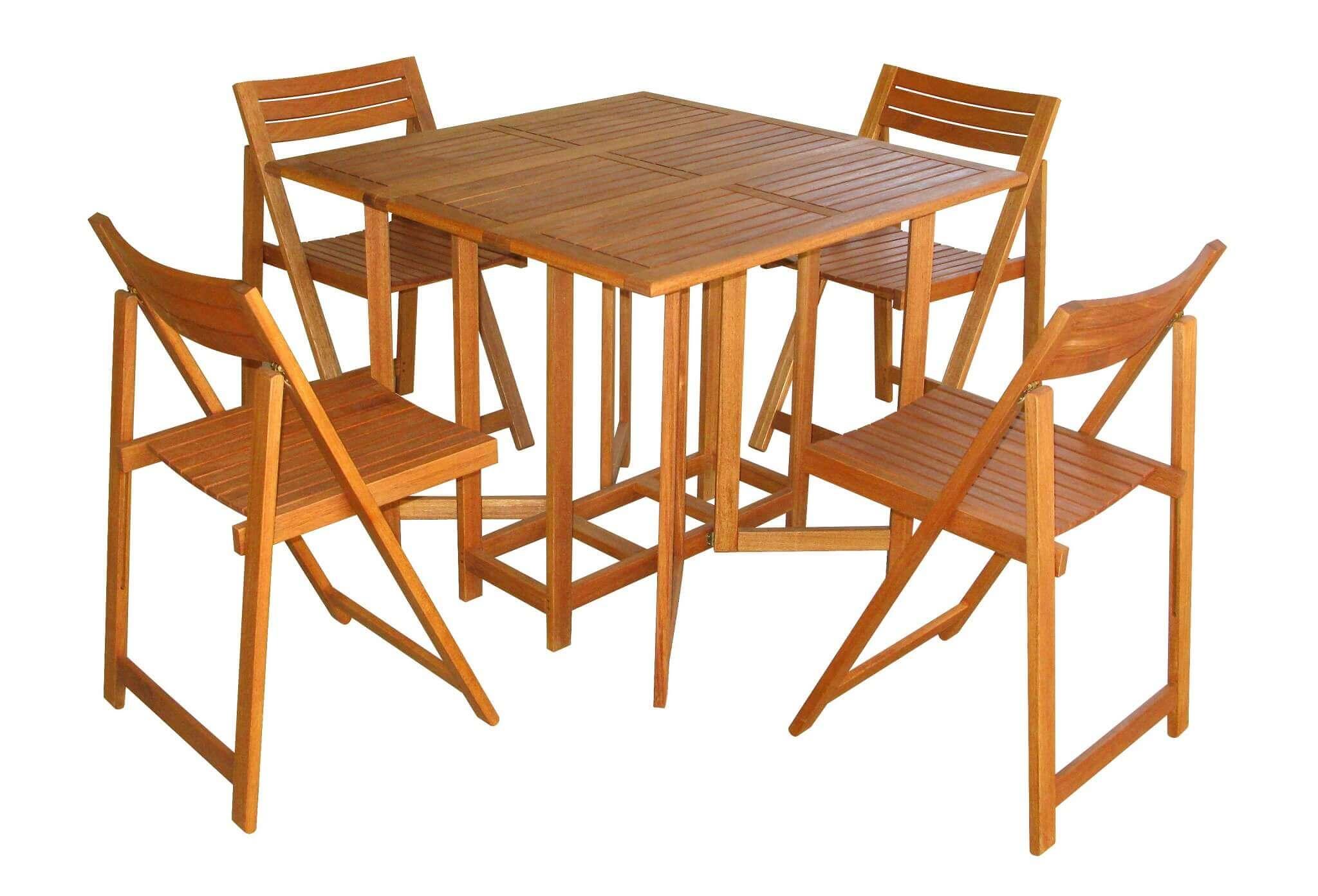 milani home insula - set tavolo da giardino pieghevole salvaspazio completo  di 4 sedie in legno massiccio di acacia