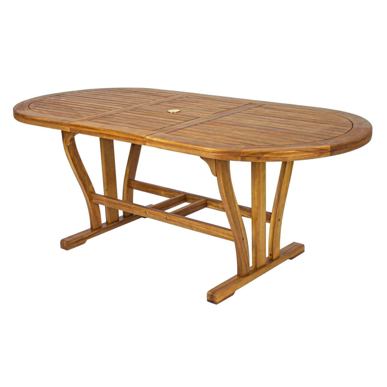 milani home turris - tavolo da giardino allungabile in legno massiccio di acacia 150/200x90