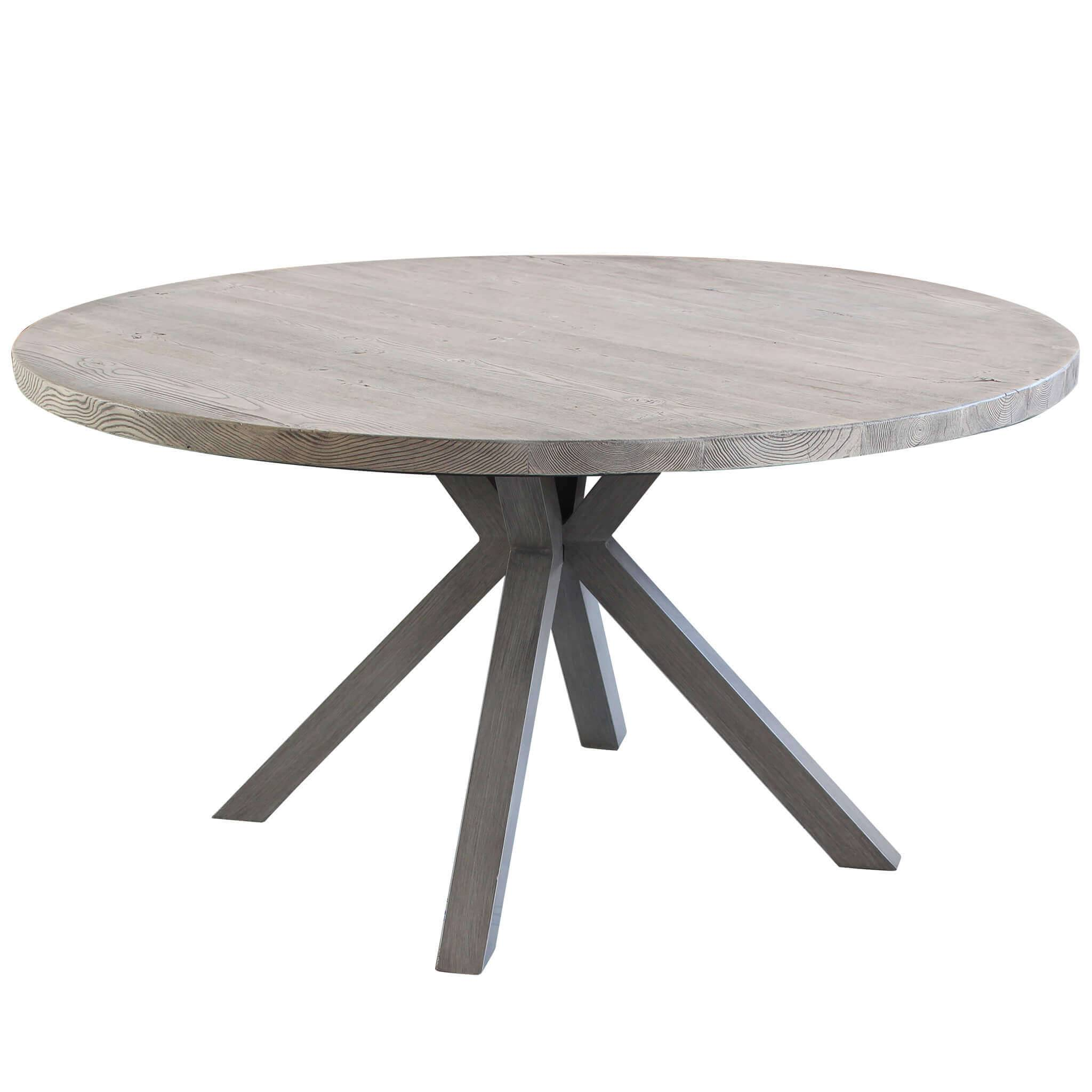 milani home ibex - tavolo da giardino in alluminio e cementite effetto legno tondo 140
