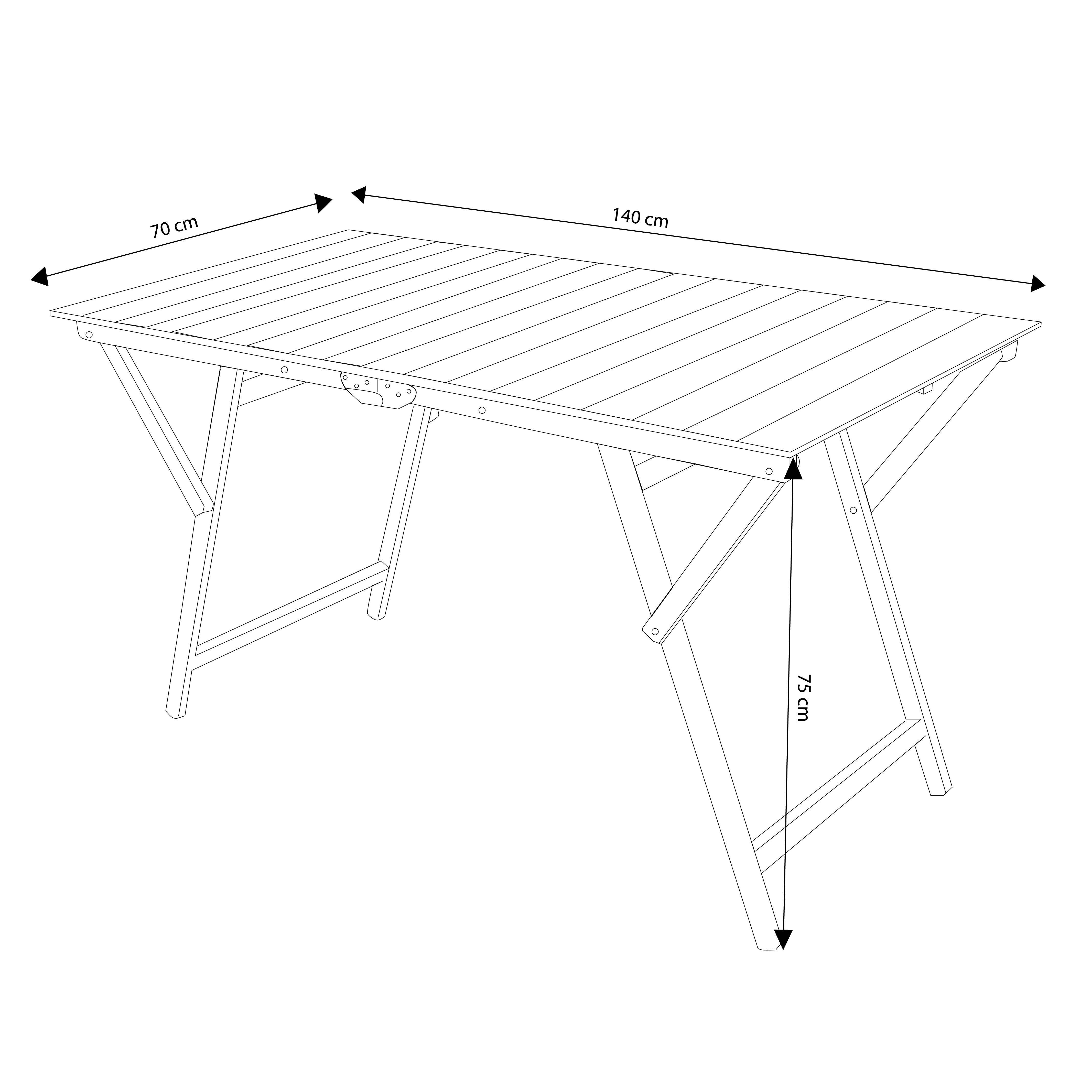 milani home tavolo da giardino pieghevole salvaspazio in legno 70 x 140
