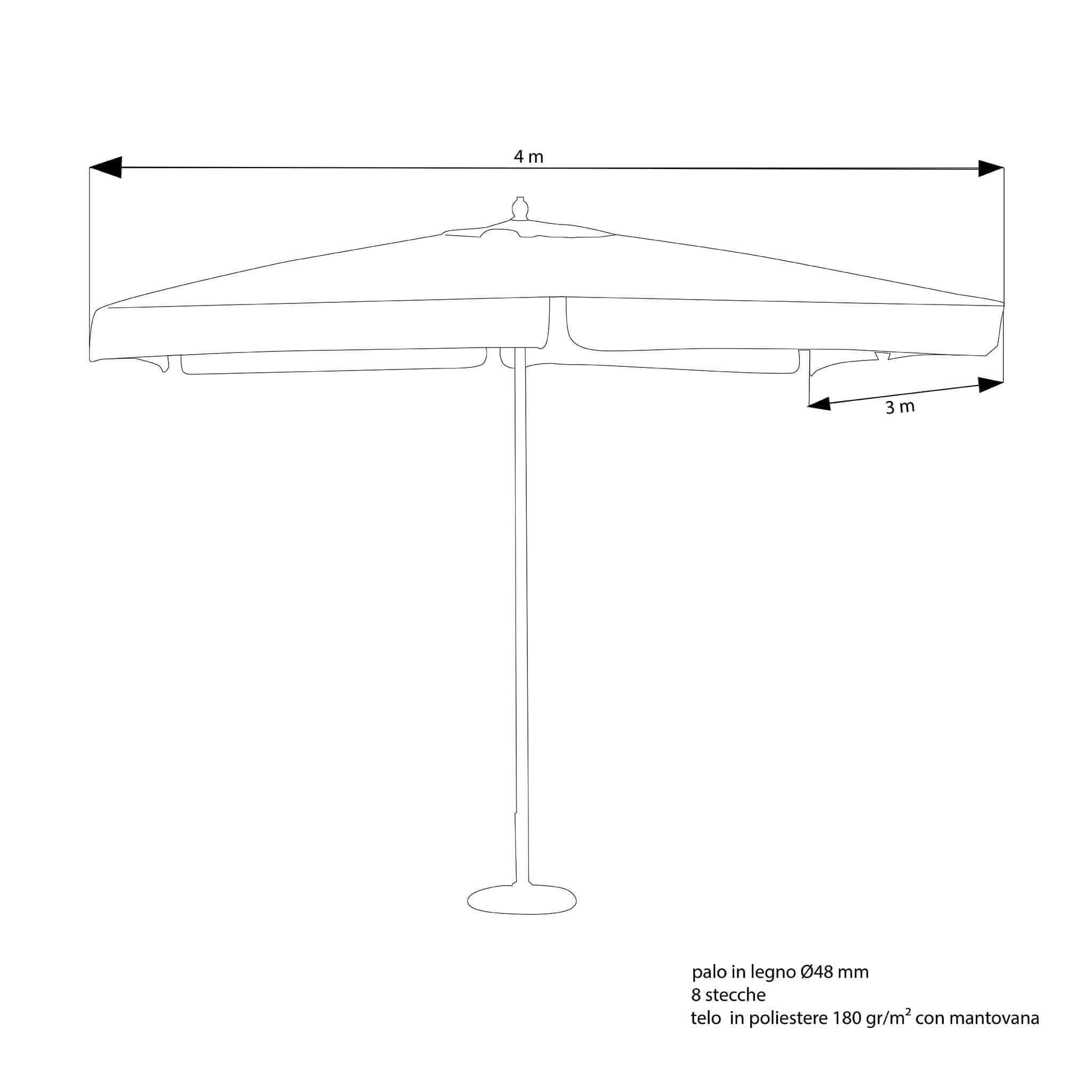 milani home dominus - ombrellone da giardino 3x4 palo centrale in legno