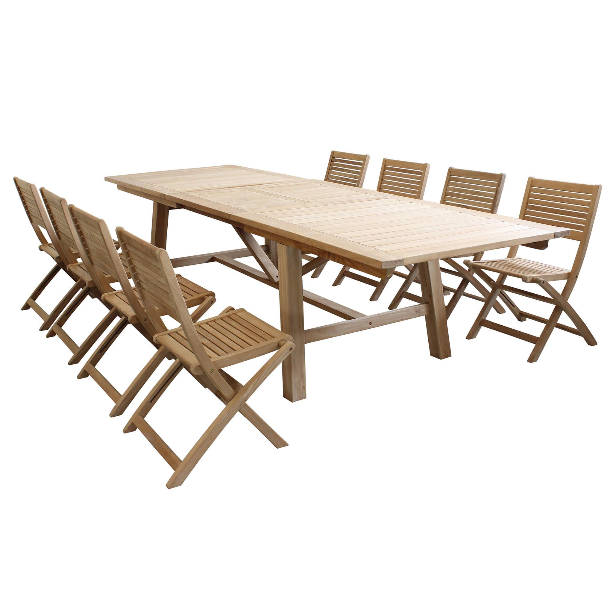 Milani Home ORATOR - set tavolo in teak cm 160/240 x 90 x 77 h con 8 sedute