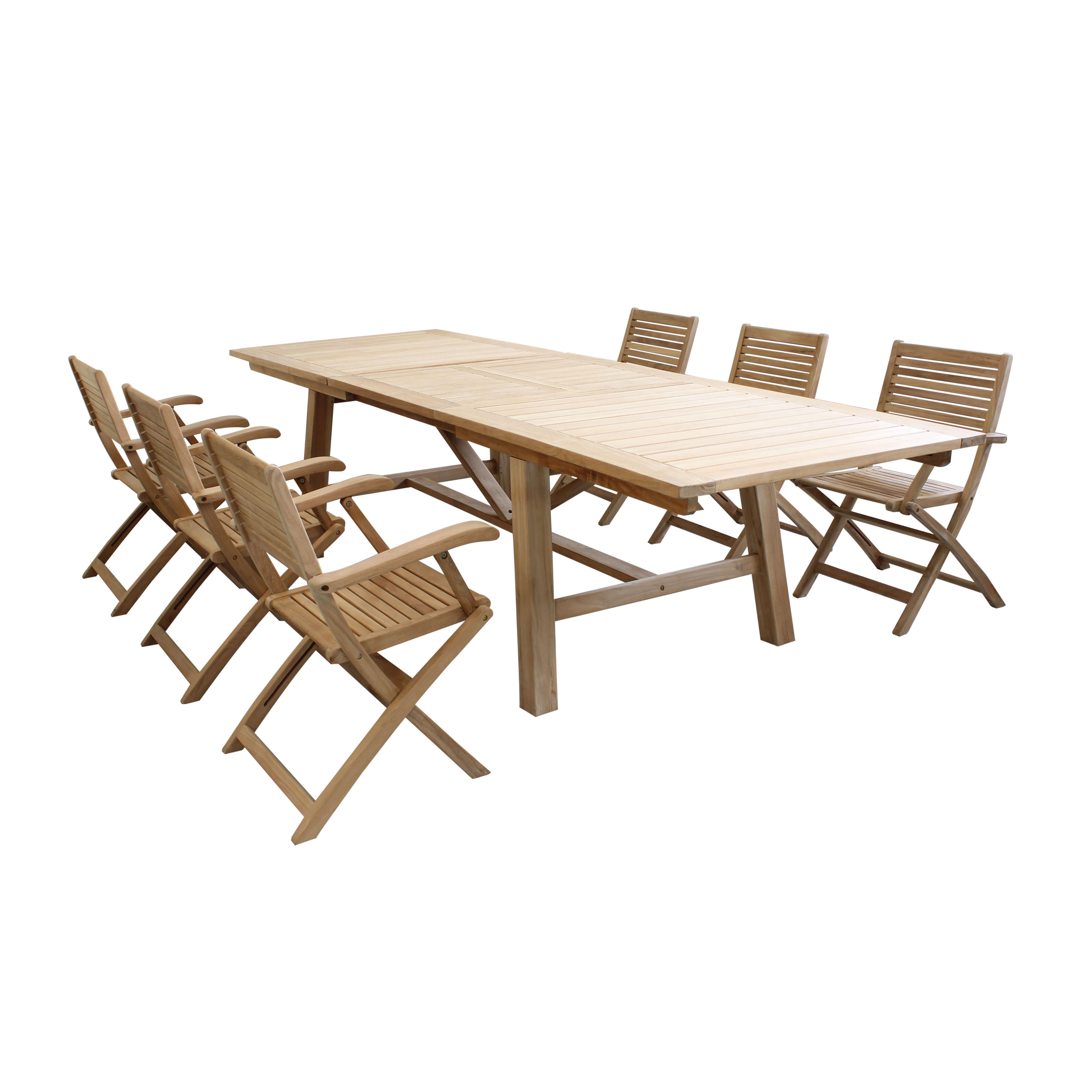 Milani Home ORATOR - set tavolo in teak cm.220/300 x 100 x 77 h con 6 sedute
