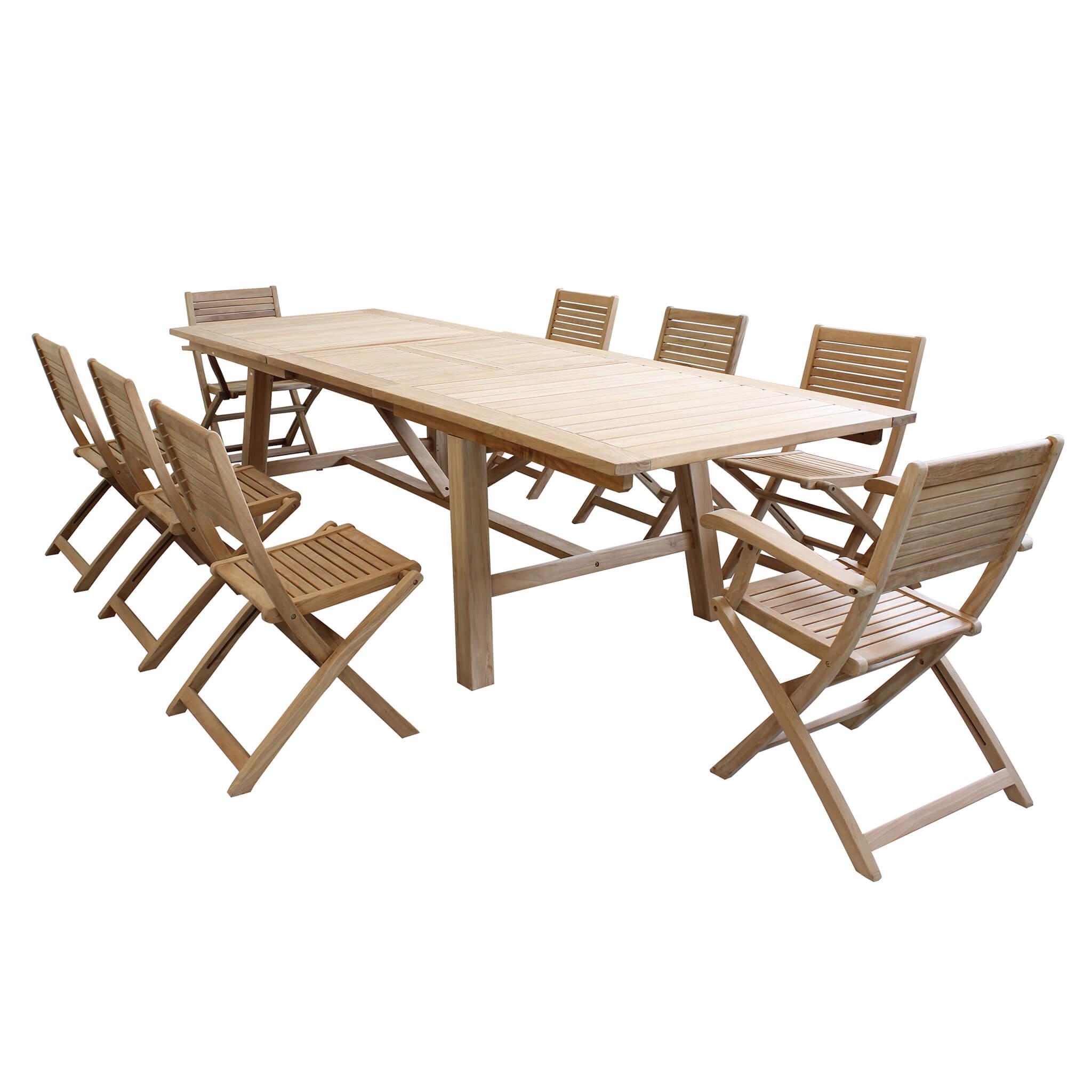 Milani Home ORATOR - set tavolo in teak cm.220/300 x 100 x 77 h con 8 sedute