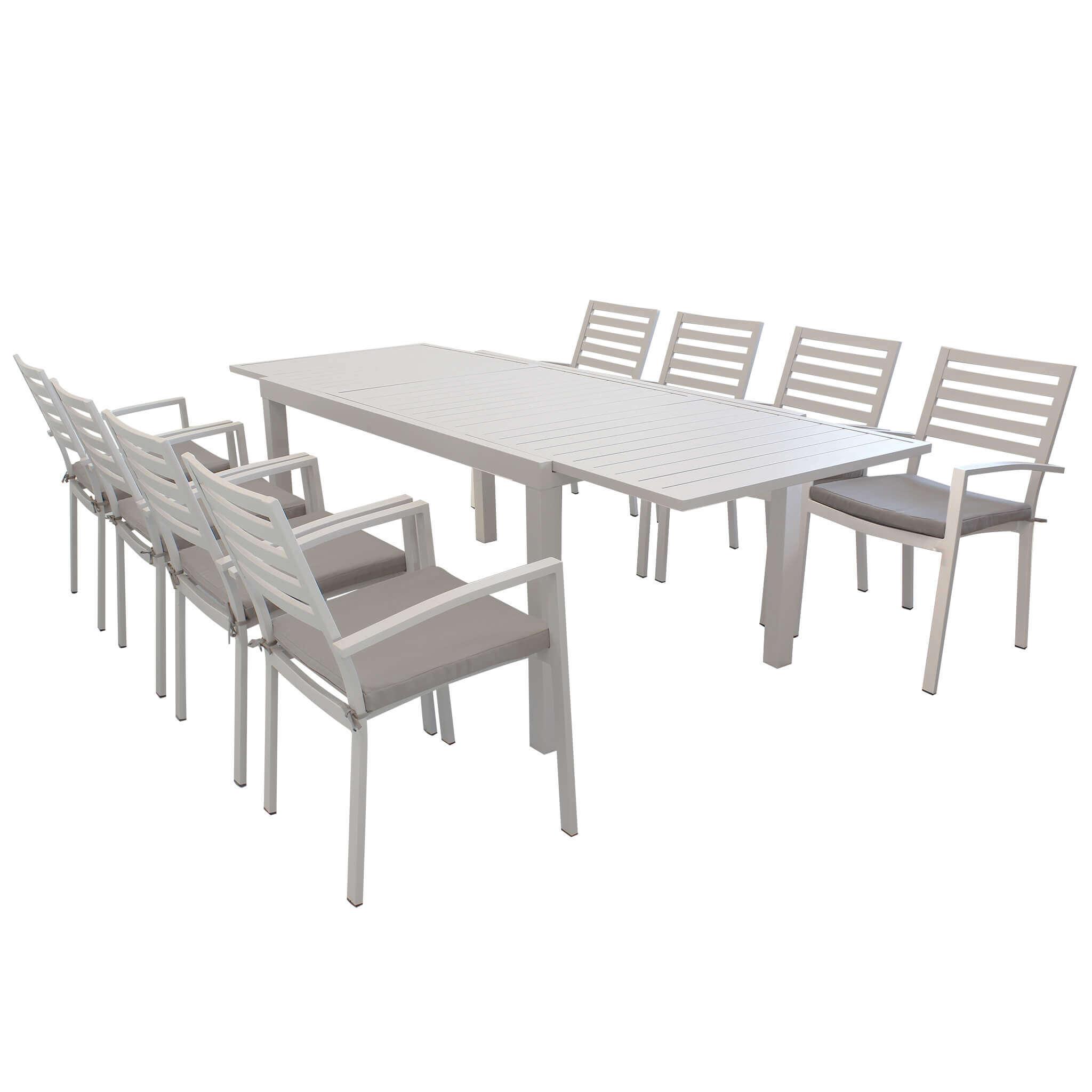 Milani Home DEXTER - set tavolo da giardino allungabile 160/240 x 90 compreso di 8 poltorne in alluminio