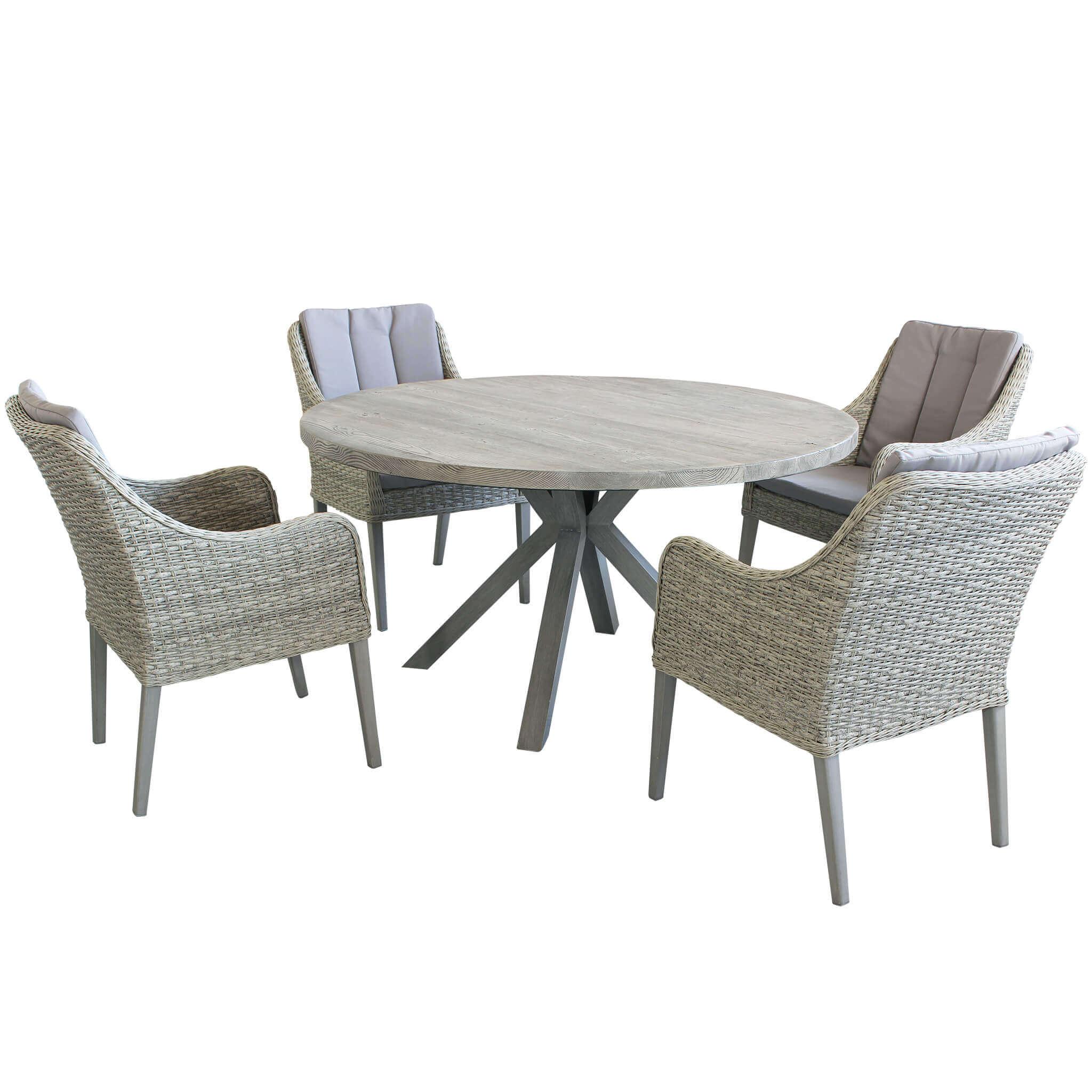 Milani Home IBEX - set tavolo in cementite e alluminio cm Ø 140 x 75 h con 4 sedute