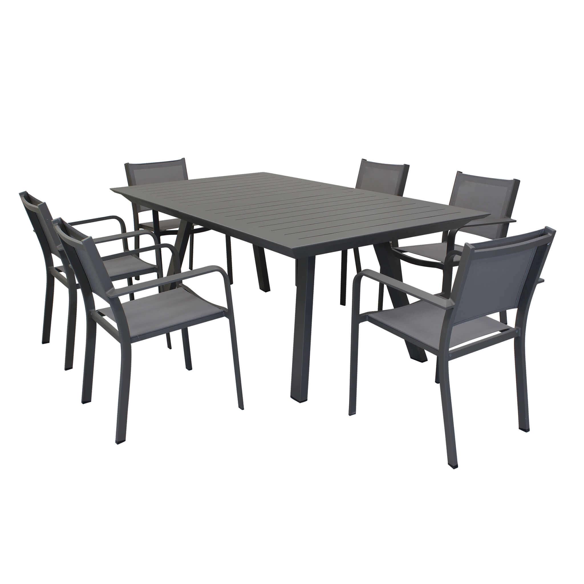 Milani Home SPLENDOR - set tavolo da giardino allungabile 200/300 x 110 compreso di 6 poltrone in alluminio