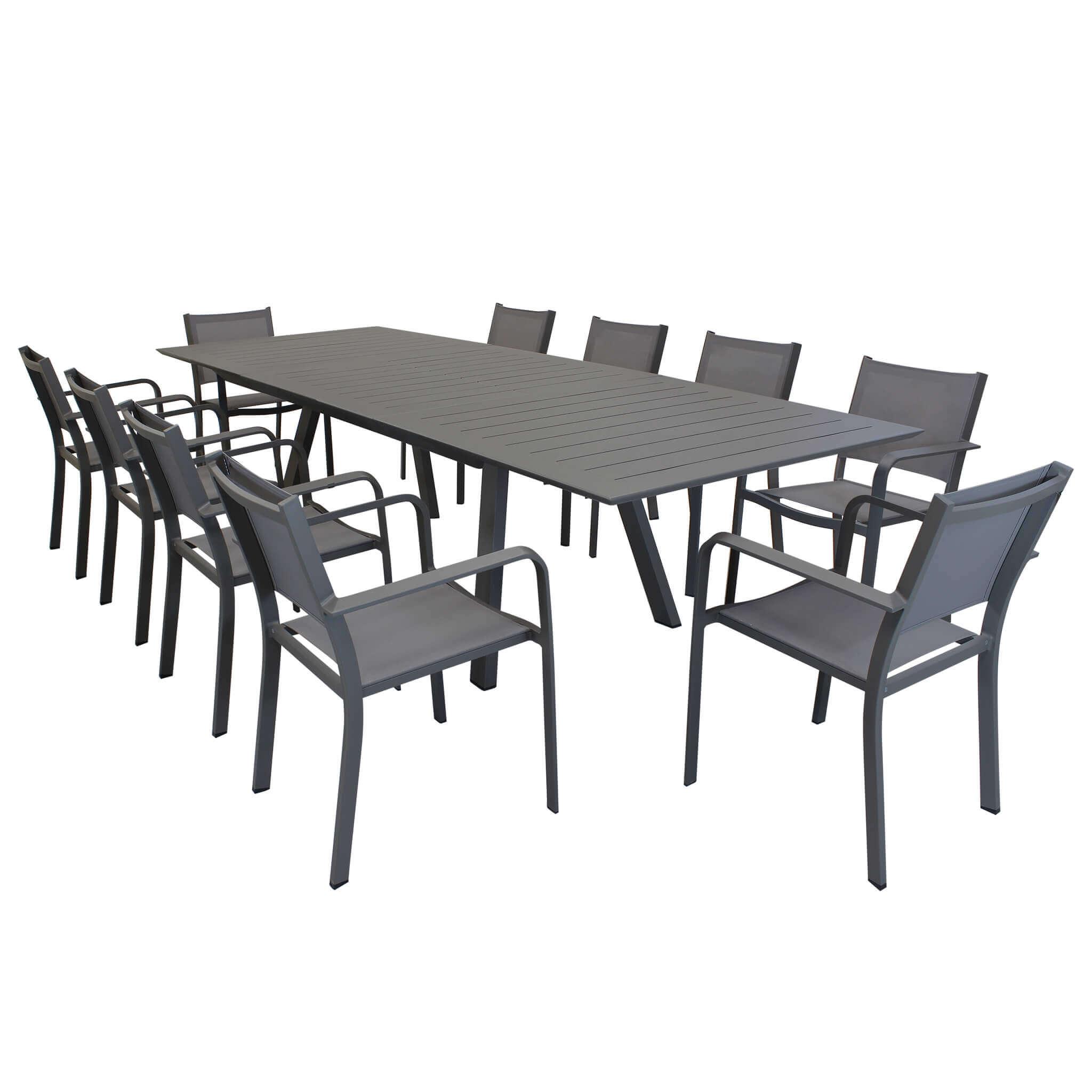 Milani Home SPLENDOR - set tavolo da giardino allungabile 200/300 x 110 compreso di 10 poltrone in alluminio