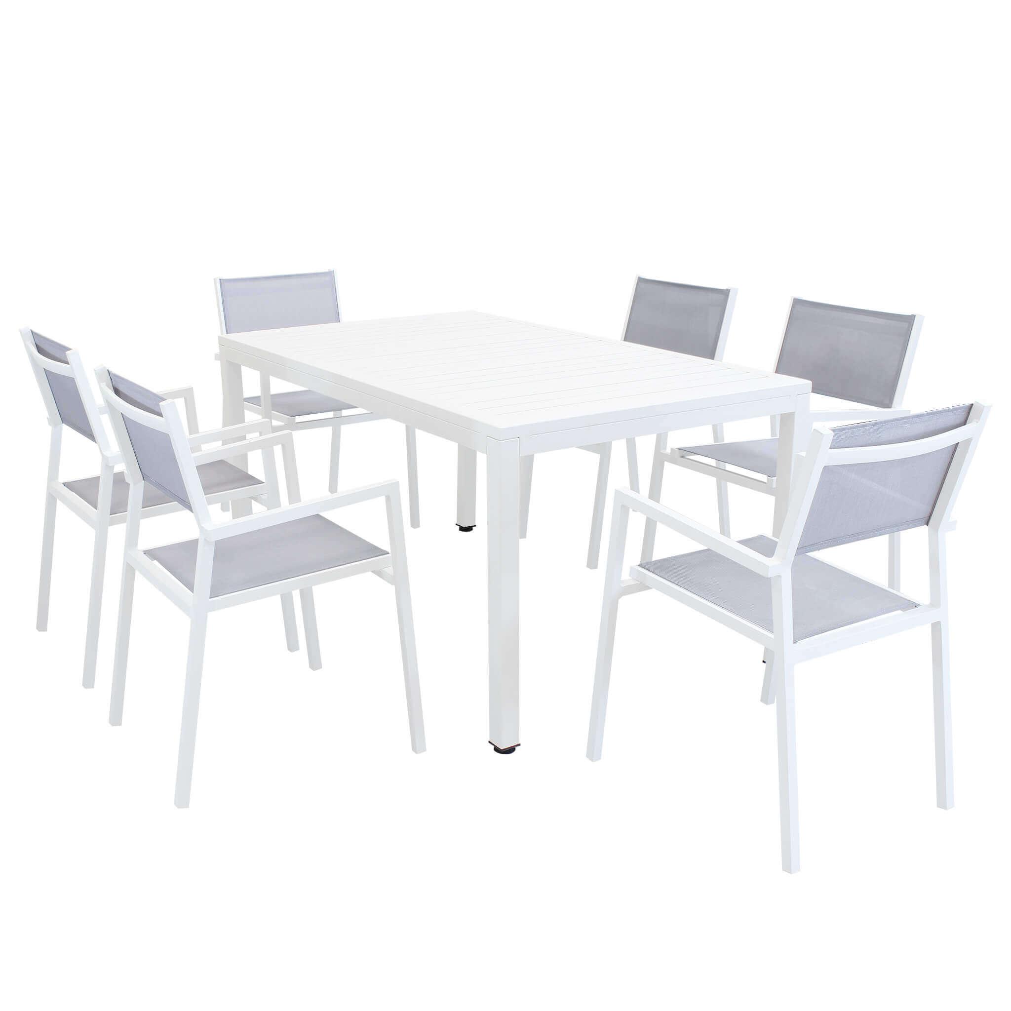 Milani Home OMEN - set tavolo da giardino 150 x 90 compreso di 6 poltrone in alluminio