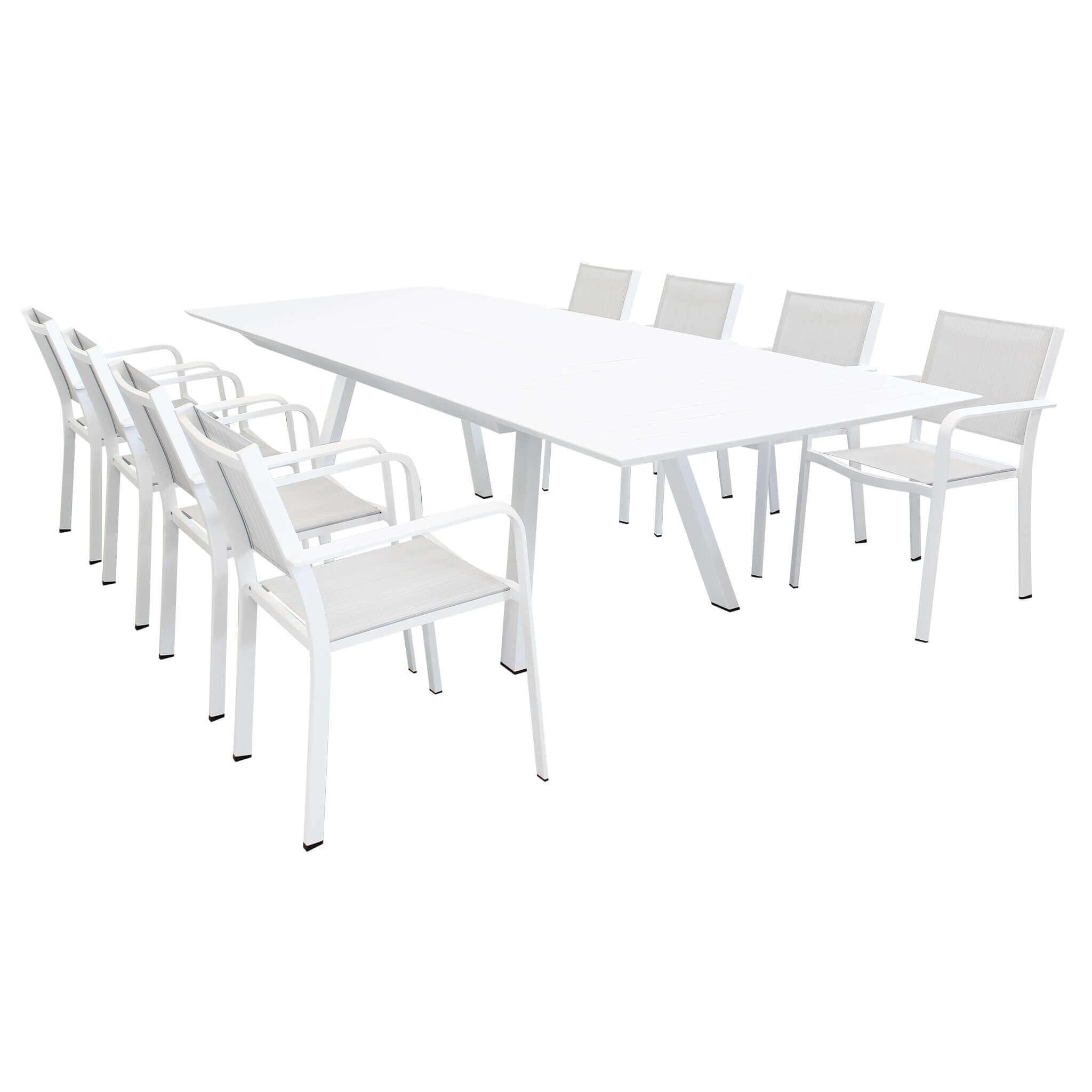 Milani Home SPLENDOR - set tavolo da giardino allungabile 200/300 x 110 compreso di 8 poltrone in alluminio