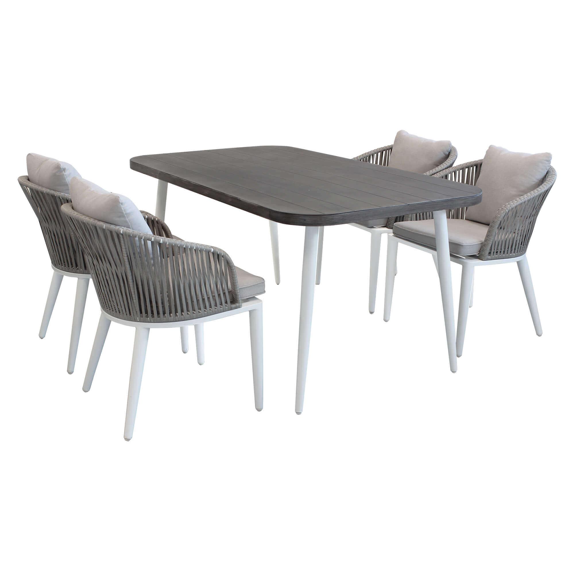 milani home aurora - set tavolo da giardino con piano effetto legno 160 x 90 compreso di 4 poltrone