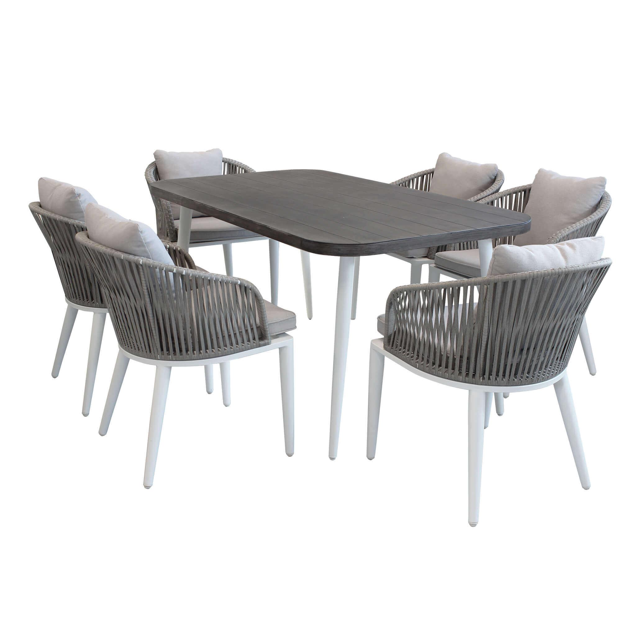milani home aurora - set tavolo da giardino con piano effetto legno 160 x 90 compreso di 6 poltrone