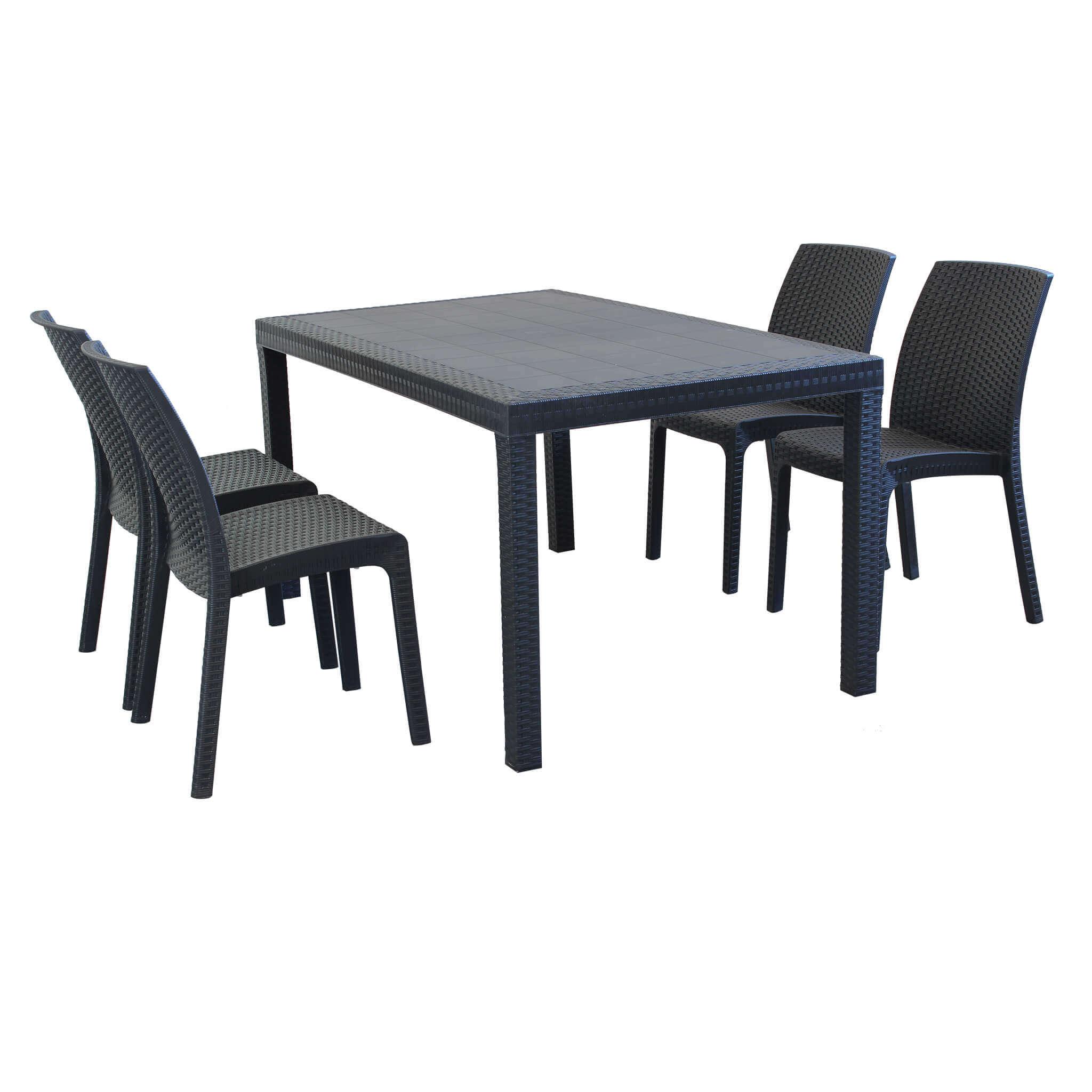 Milani Home EQUITATUS - set tavolo fisso in wicker cm 150 x 90 compreso di 4 sedute