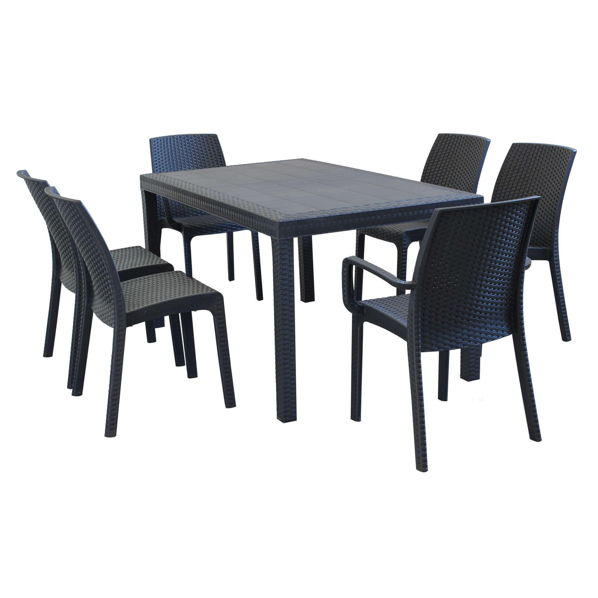 Milani Home EQUITATUS - set tavolo fisso in wicker cm 150 x 90 compreso di 6 sedute