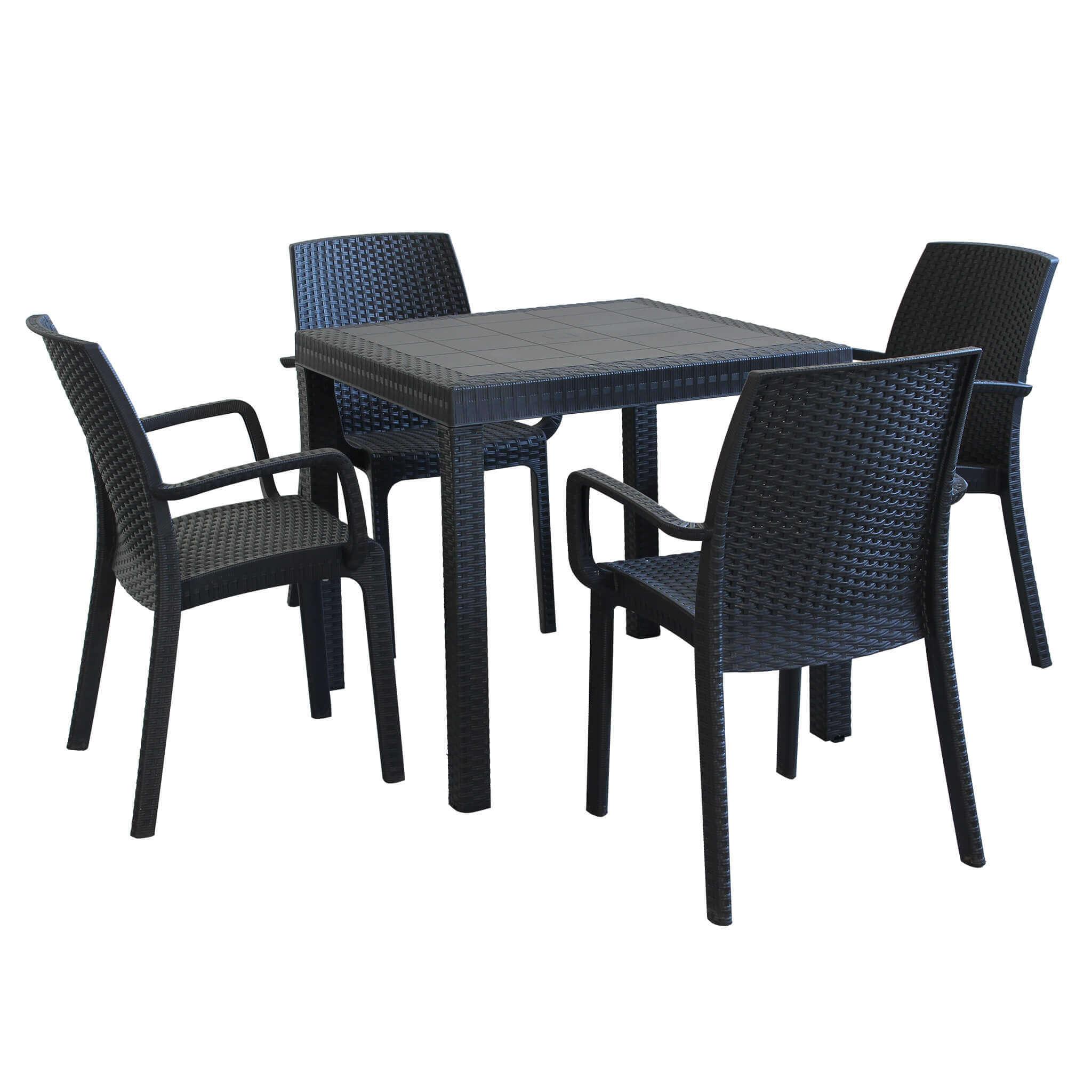 Milani Home EQUITATUS - set tavolo fisso in wicker cm 80 x 80 x 74 h compreso di 4 sedute