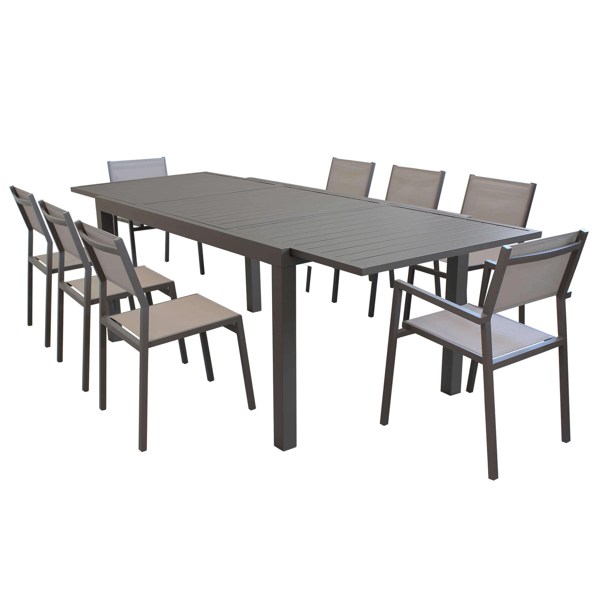 Milani Home DEXTER - set tavolo 160/240 x 90 struttura e piano in alluminio compreso di 8 sedute