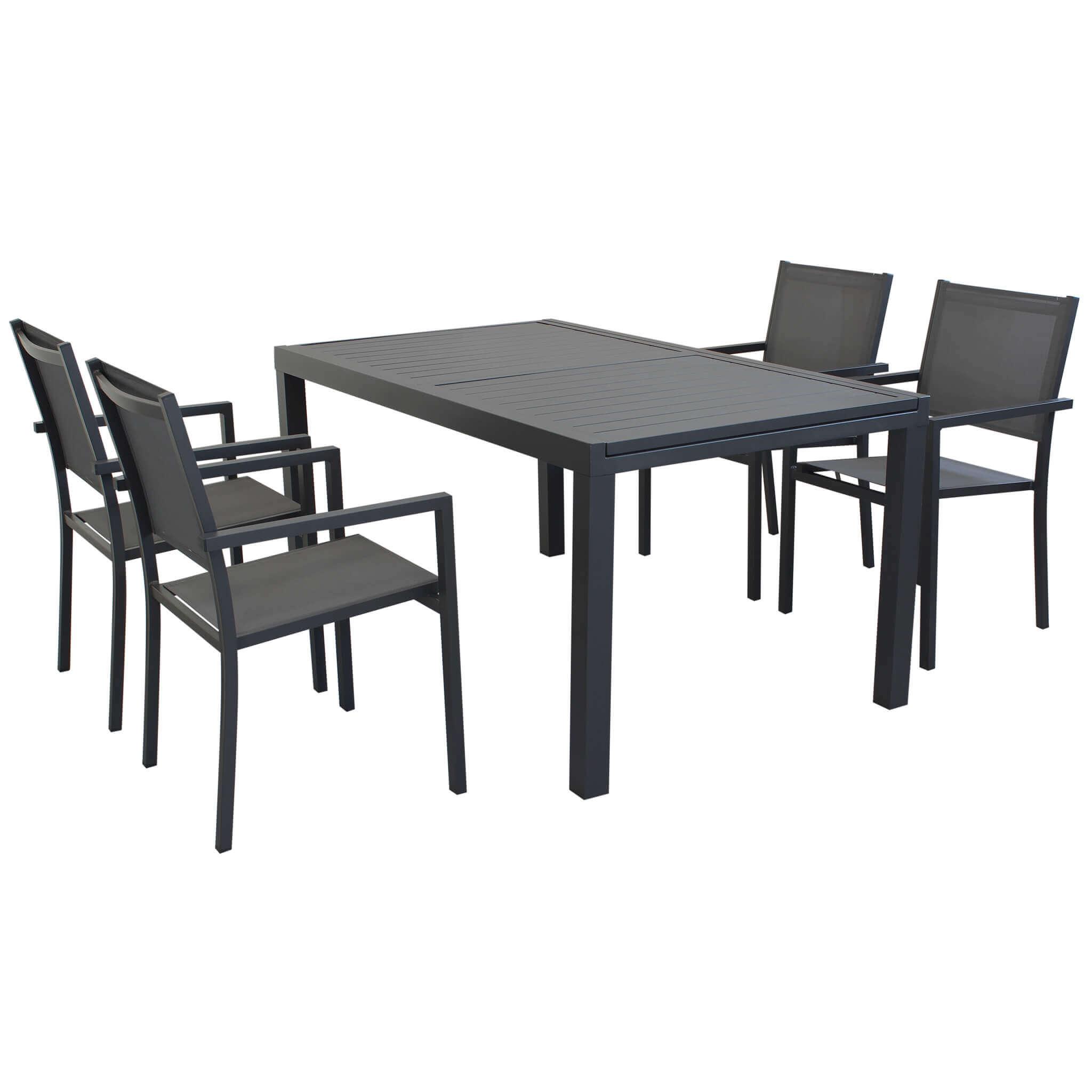 Milani Home DEXTER - set tavolo da giardino allungabile in alluminio 160/240 x 90 compreso di 4 poltrone in alluminio e textilene