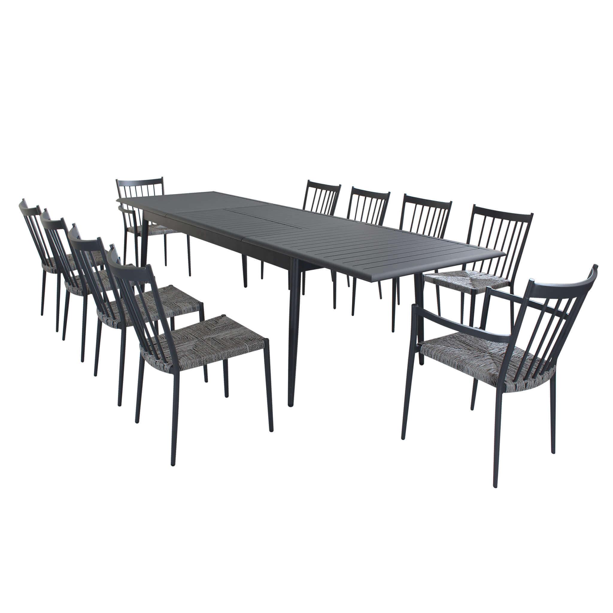 Milani Home IMPERIUM - set tavolo da giardino allungabile in alluminio 200/300 x 90 compreso di 8 sedie e 2 poltrone in alluminio e polyrattan