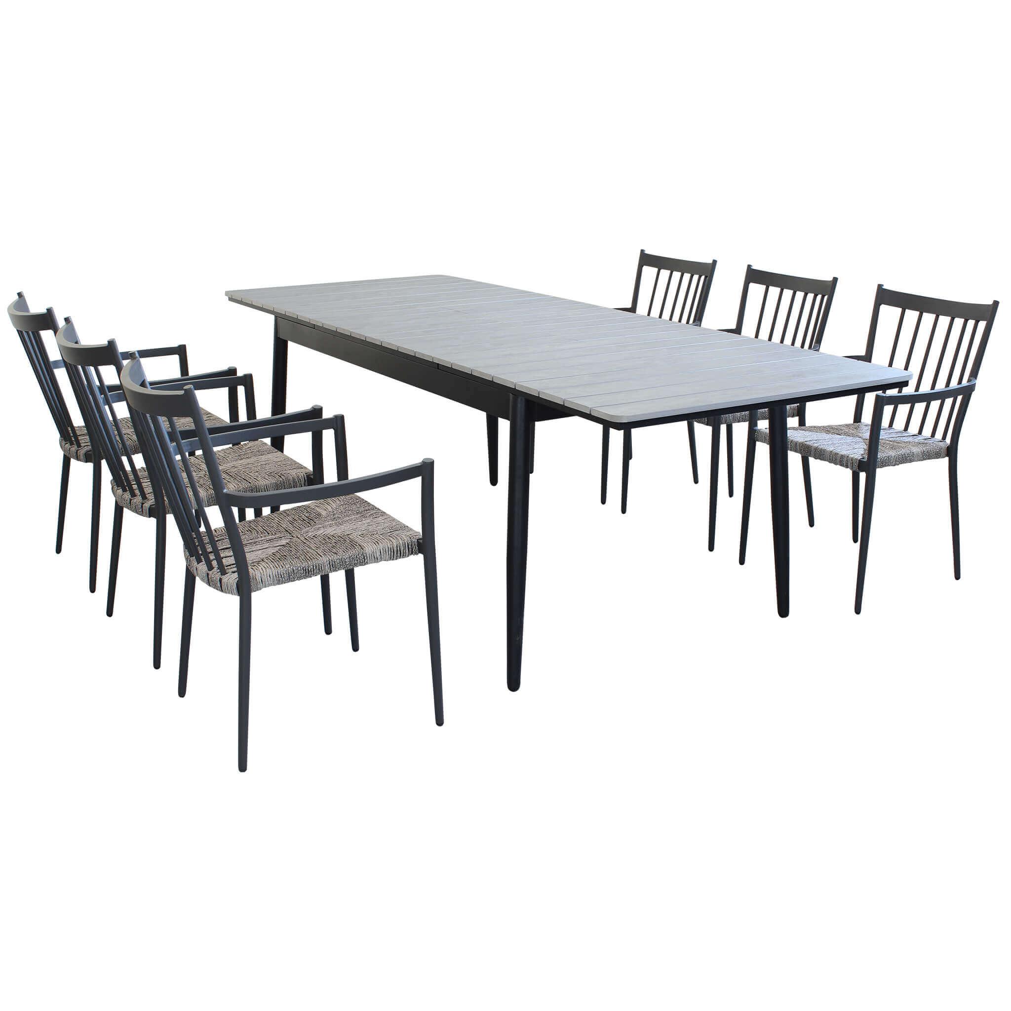 Milani Home DONATO - set tavolo da giardino allungabile in alluminio e polywood 160/240 x 90 compreso di 6 poltrone in alluminio e polyrattan