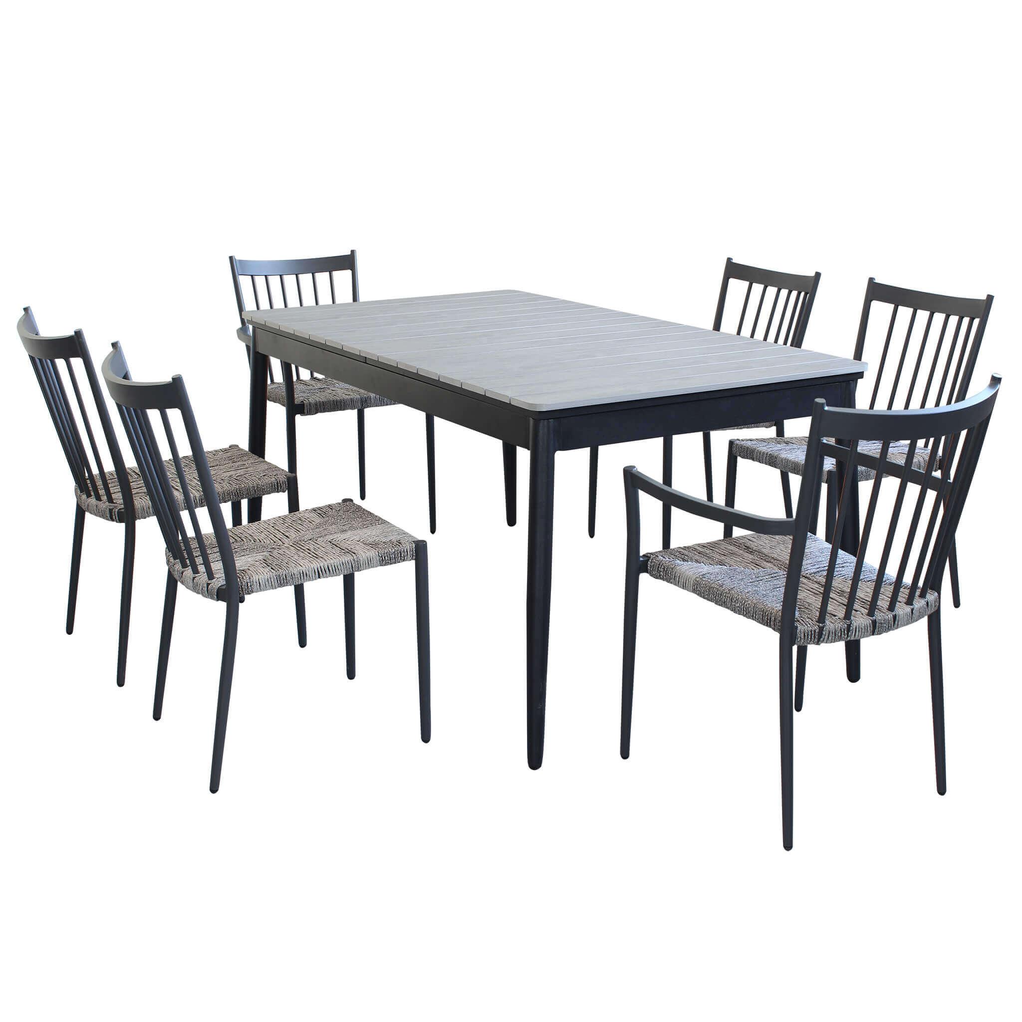 Milani Home DONATO - set tavolo da giardino allungabile in alluminio e polywood 160/240 x 90 compreso di 4 sedie e 2 poltrone in alluminio e polyrattan