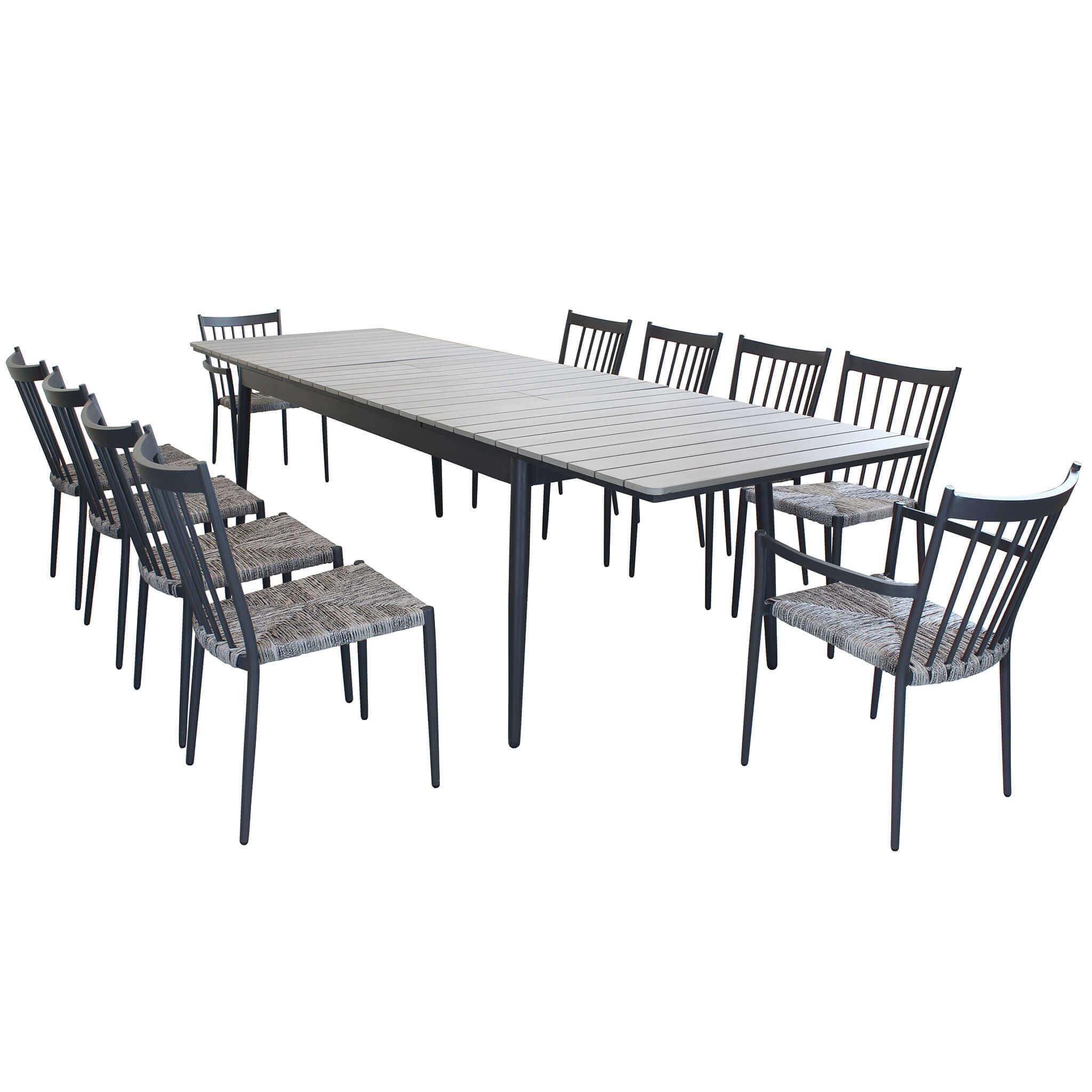 Milani Home DONATO - set tavolo da giardino allungabile in alluminio e polywood 200/300 x 90 compreso di 8 sedie e 2 poltrone in alluminio e polyrattan